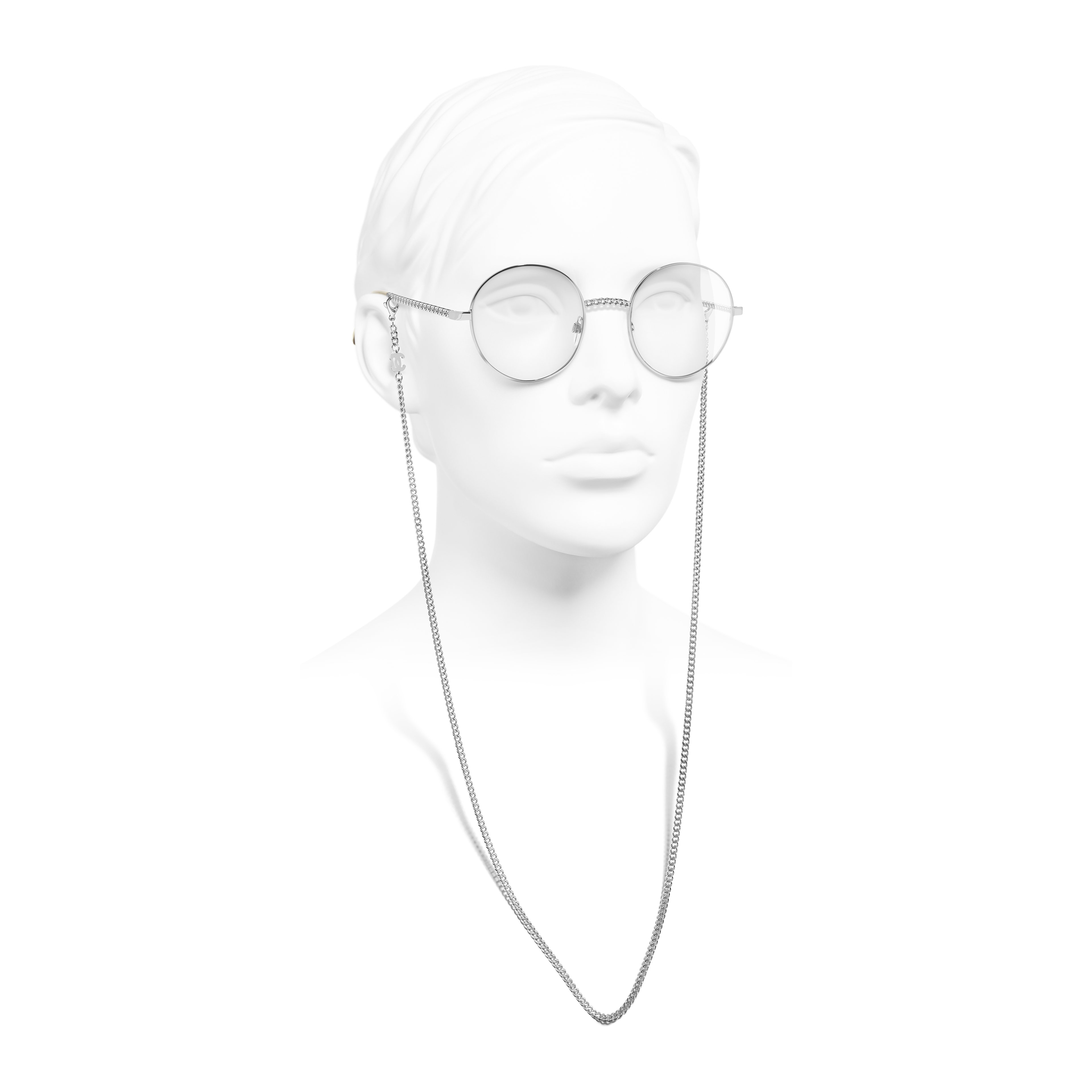 Round Eyeglasses - Silver - Metal - Worn side view - see full sized version