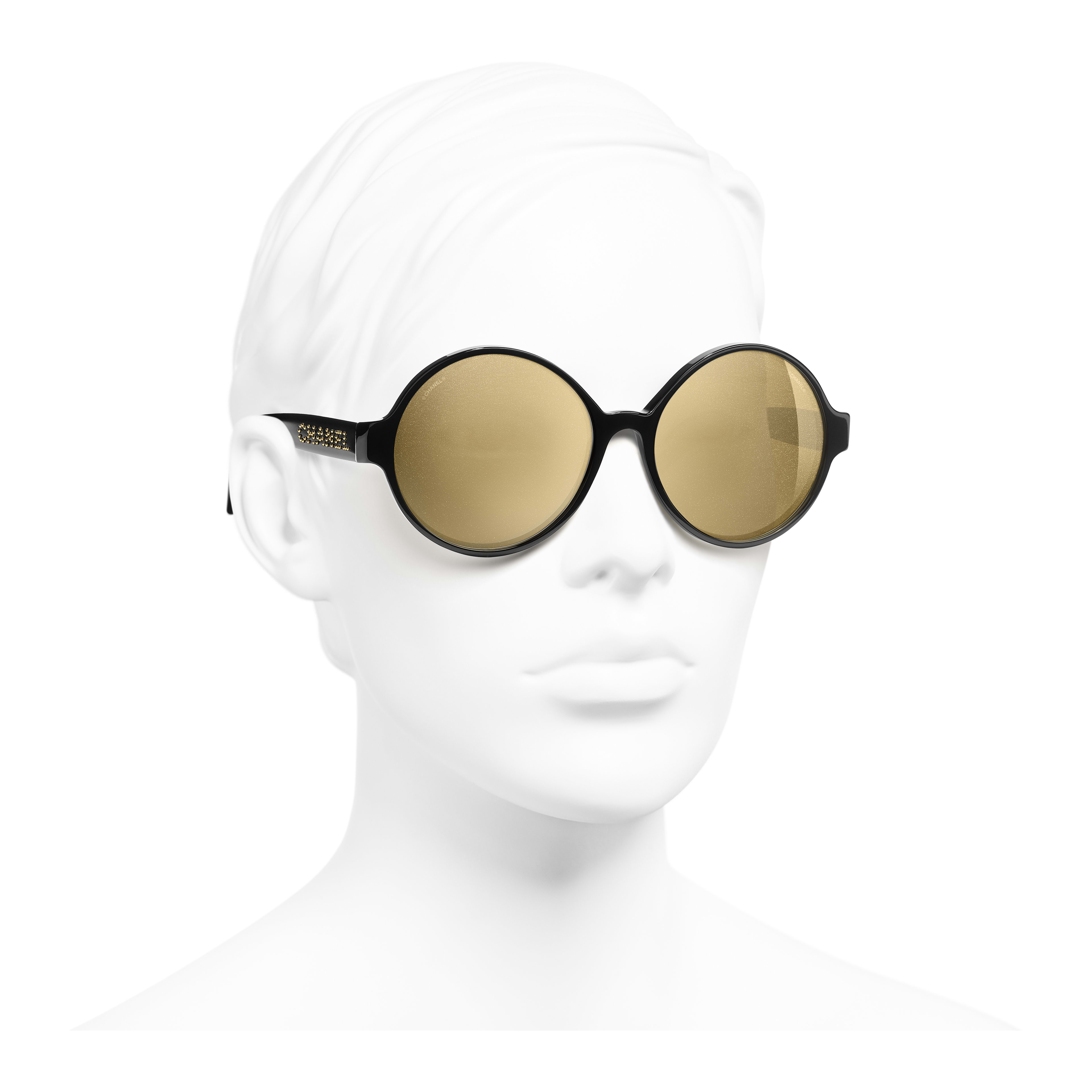 Round Sunglasses - Black - Acetate - Worn 3/4 view - see full sized version