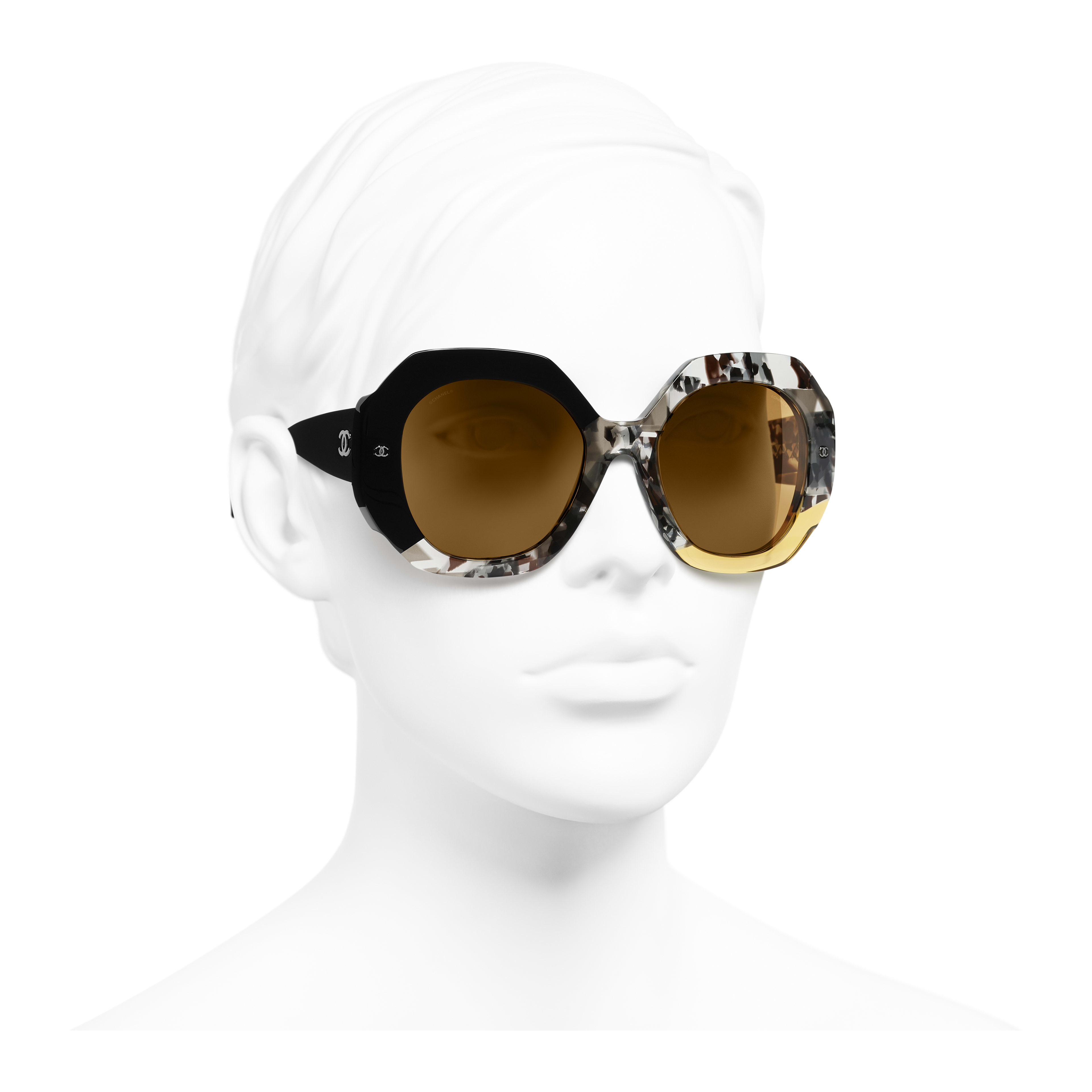 Round Sunglasses - Black, Gray & Yellow - Acetate - Worn 3/4 view - see full sized version