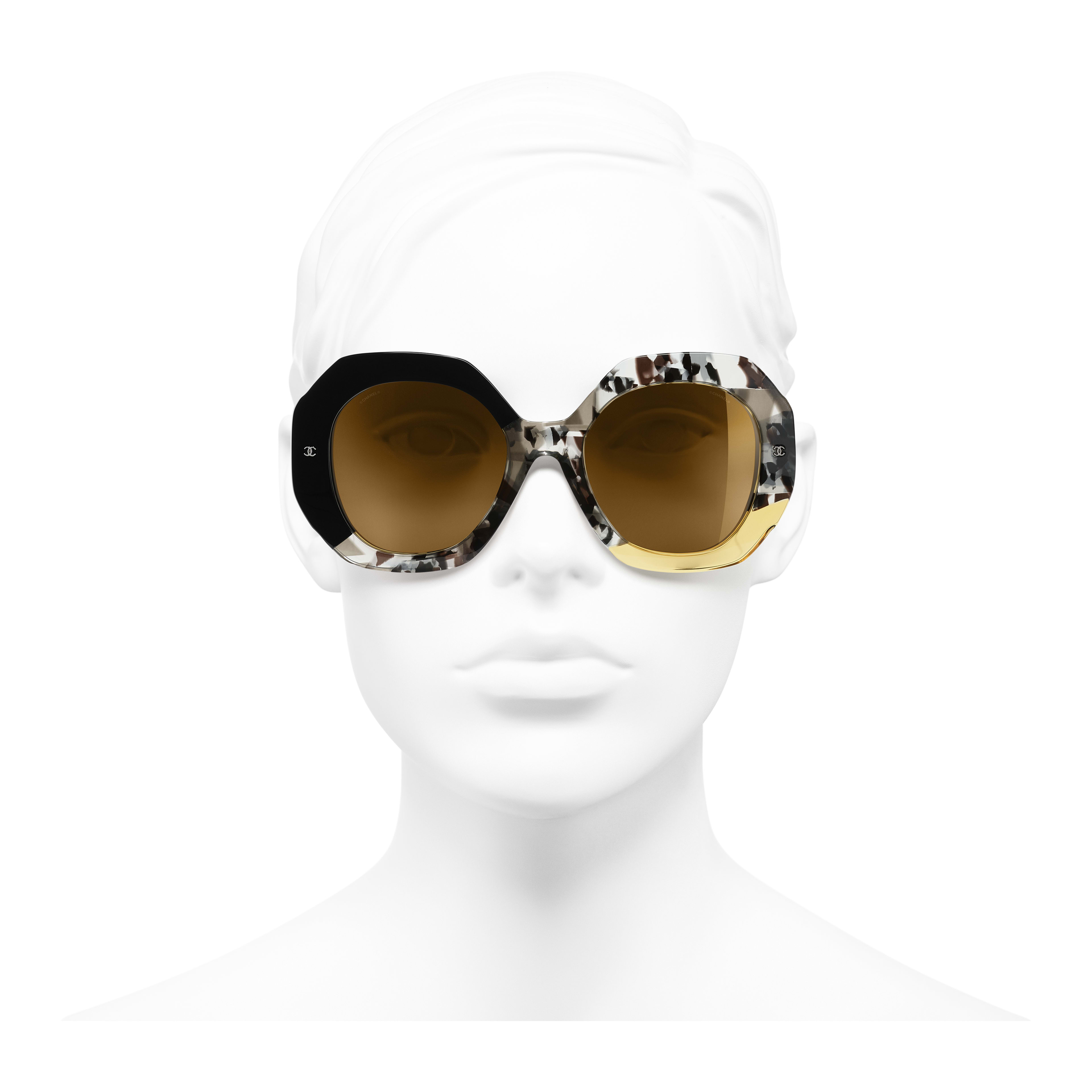 Round Sunglasses - Black, Gray & Yellow - Acetate - Worn front view - see full sized version