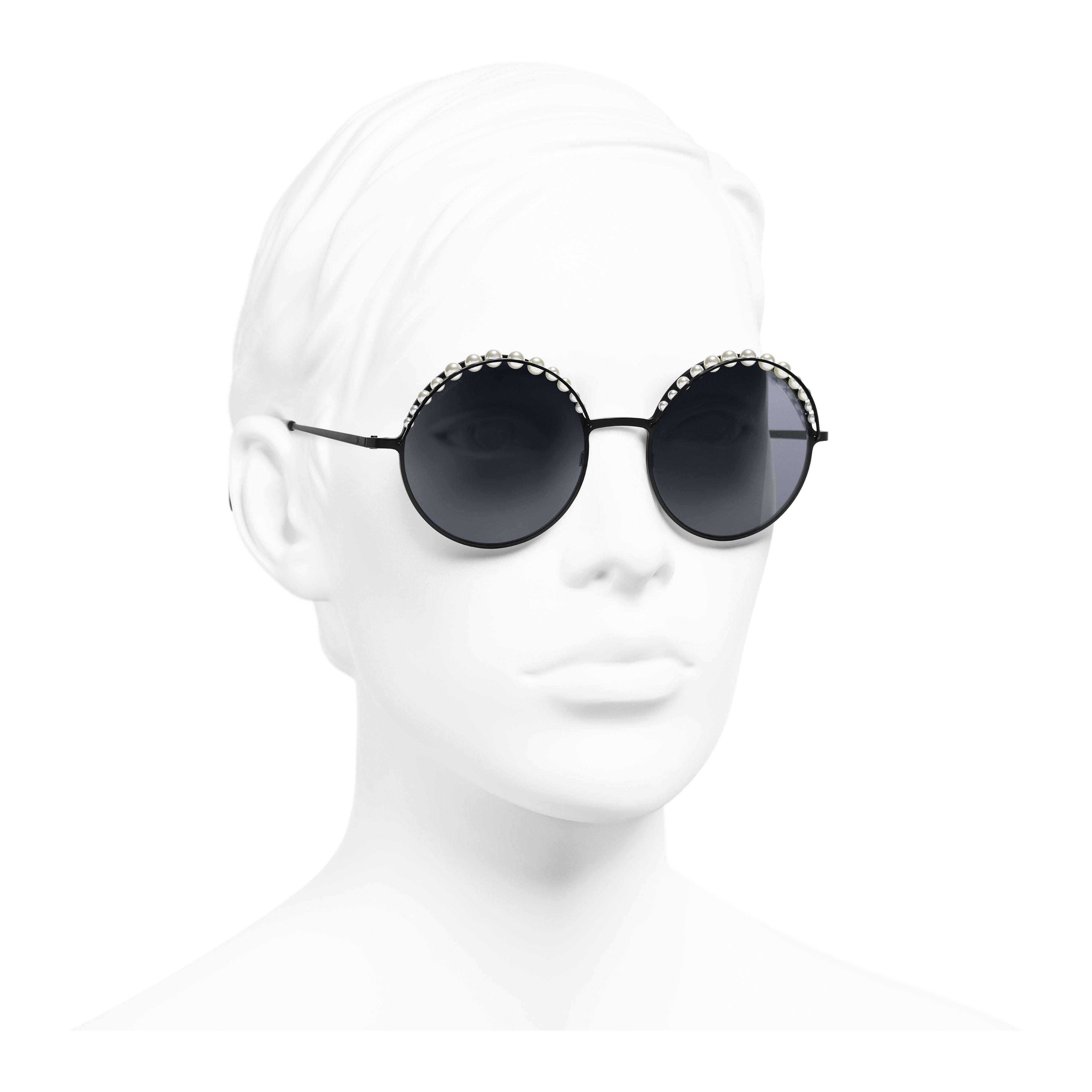 Round Sunglasses - Black - Metal & Imitation Pearls - Worn 3/4 view - see full sized version