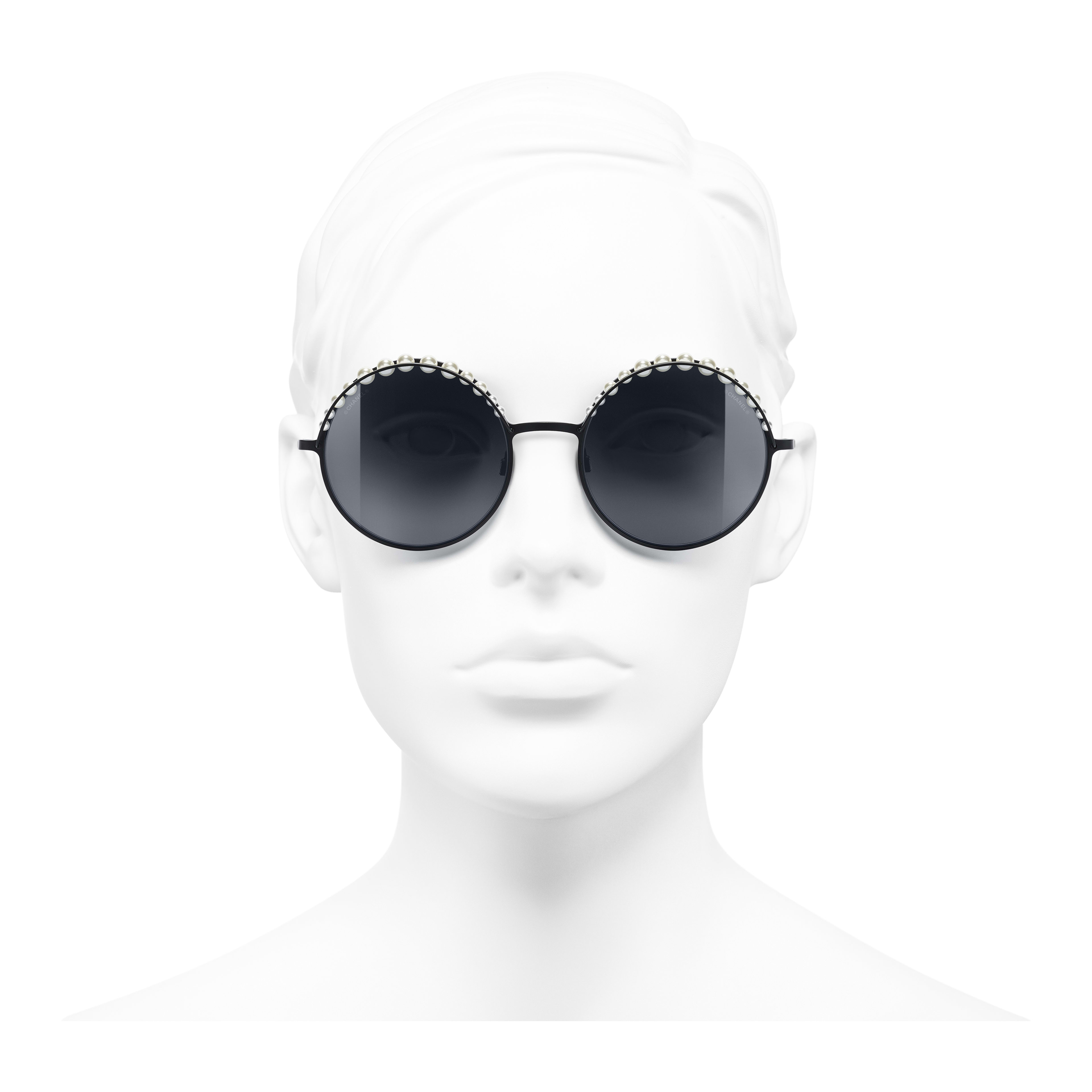 Round Sunglasses - Black - Metal & Imitation Pearls - Worn front view - see full sized version