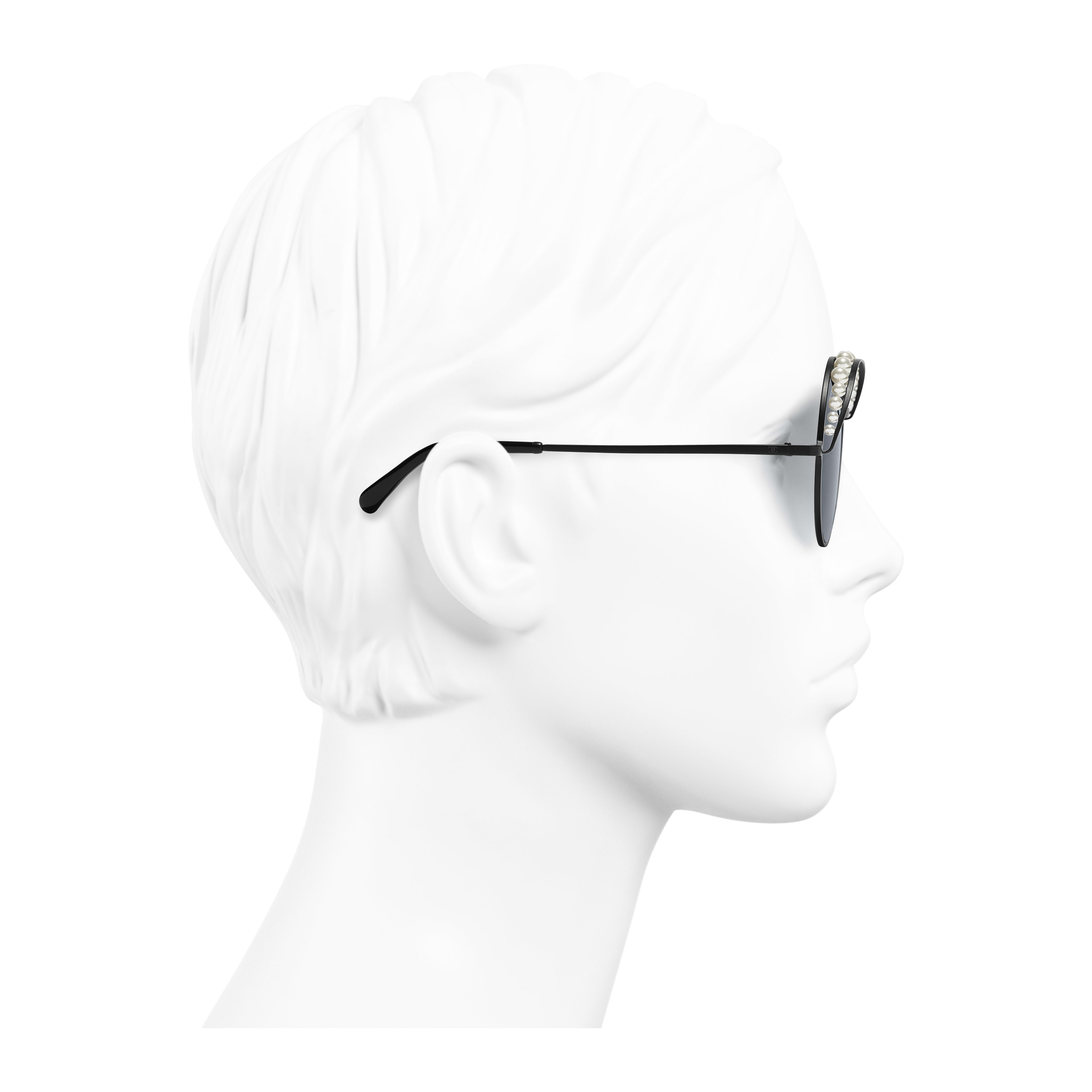 Round Sunglasses - Black - Metal & Imitation Pearls - Worn side view - see full sized version