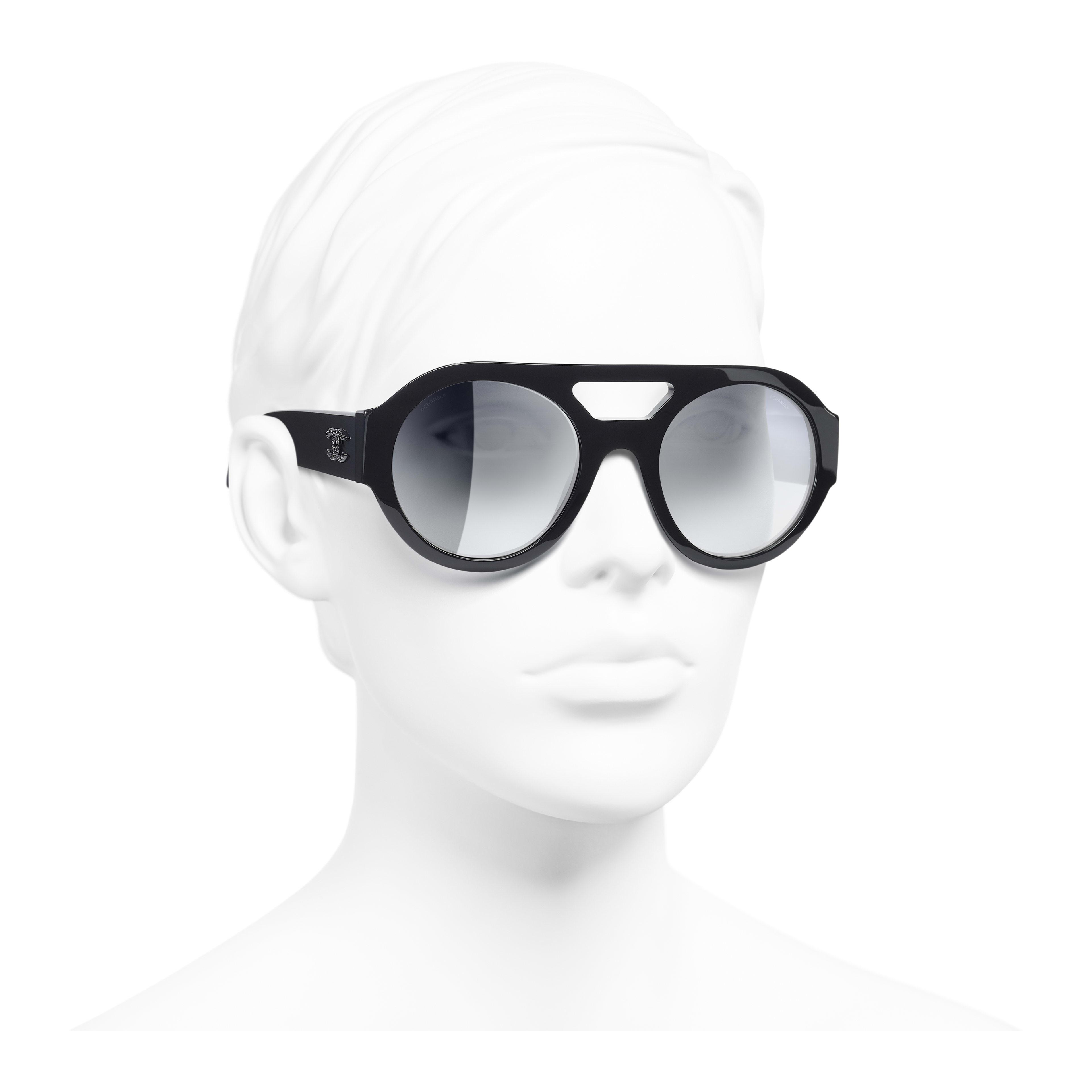Round Sunglasses - Dark Blue - Acetate & Strass - Worn 3/4 view - see full sized version