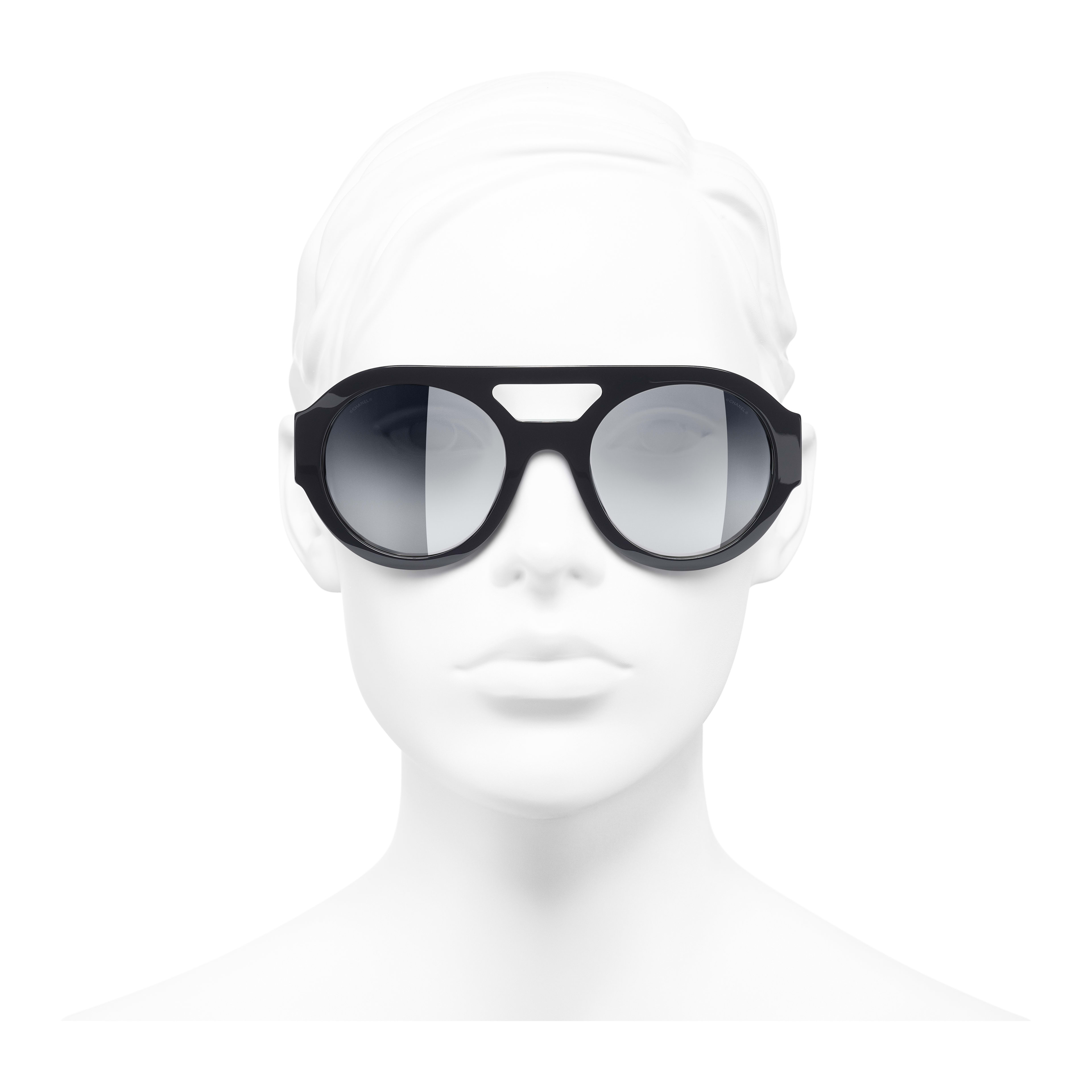 Round Sunglasses - Dark Blue - Acetate & Strass - Worn front view - see full sized version