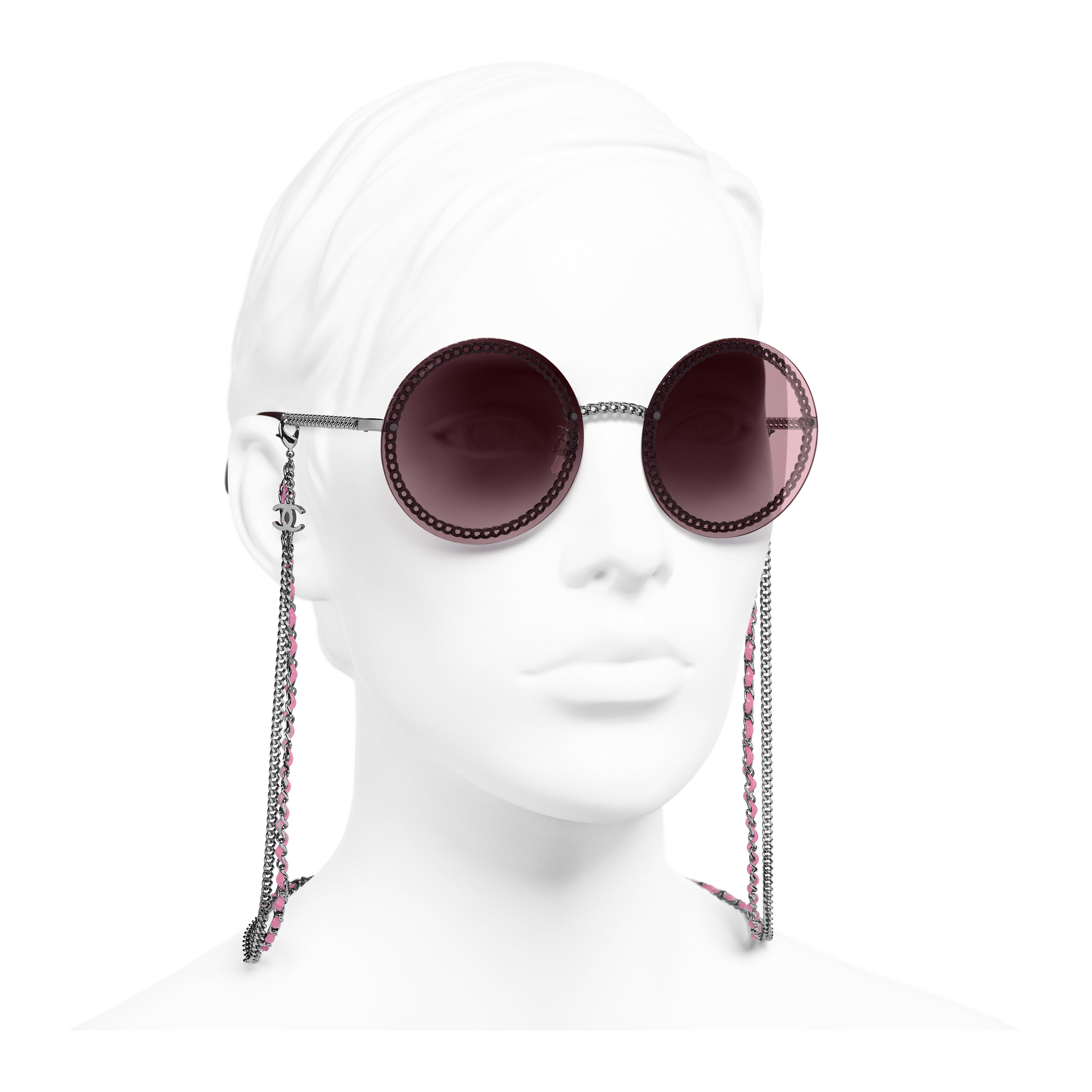 Round Sunglasses - Dark Silver - Metal & Calfskin - Worn 3/4 view - see full sized version