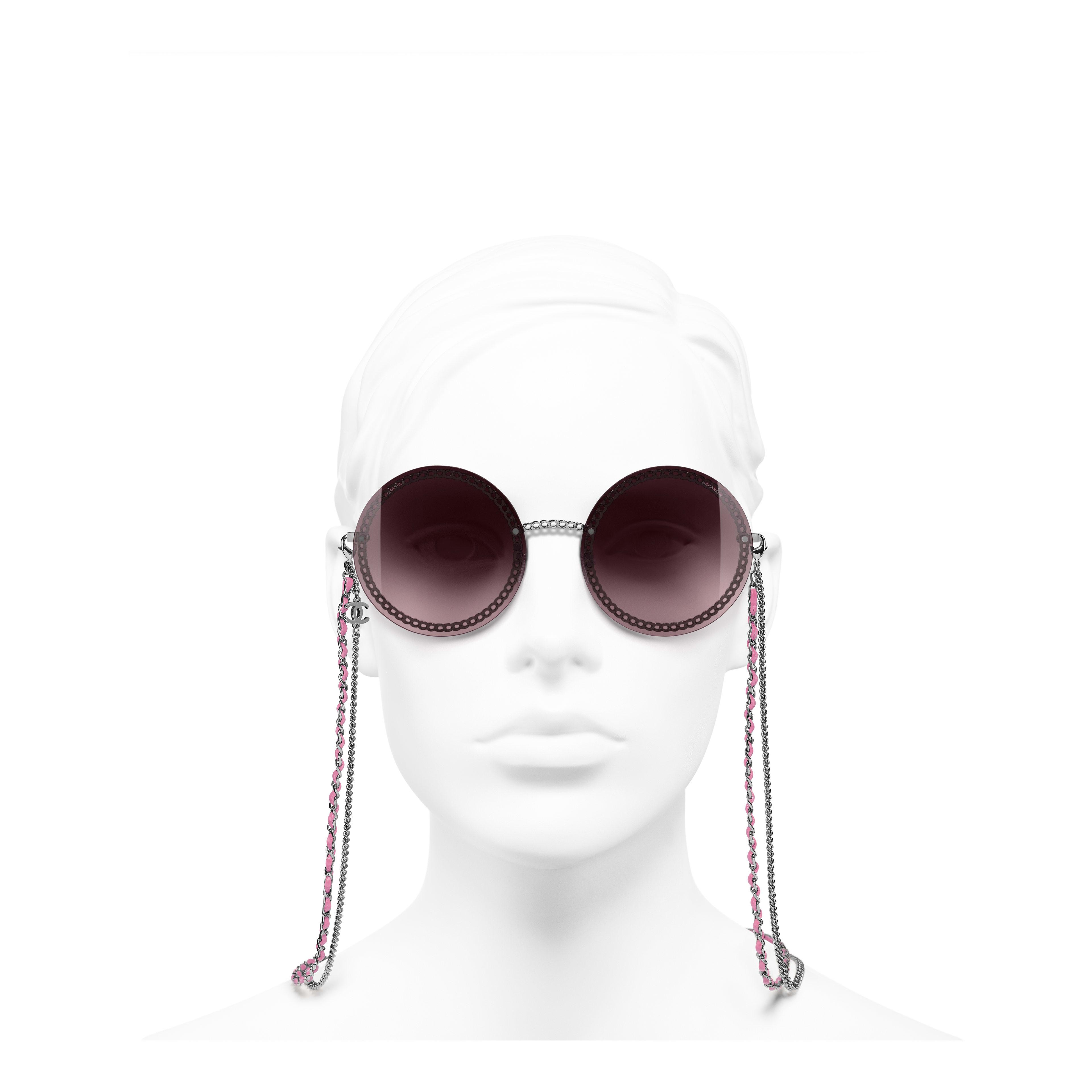 Round Sunglasses - Dark Silver - Metal & Calfskin - Worn front view - see full sized version