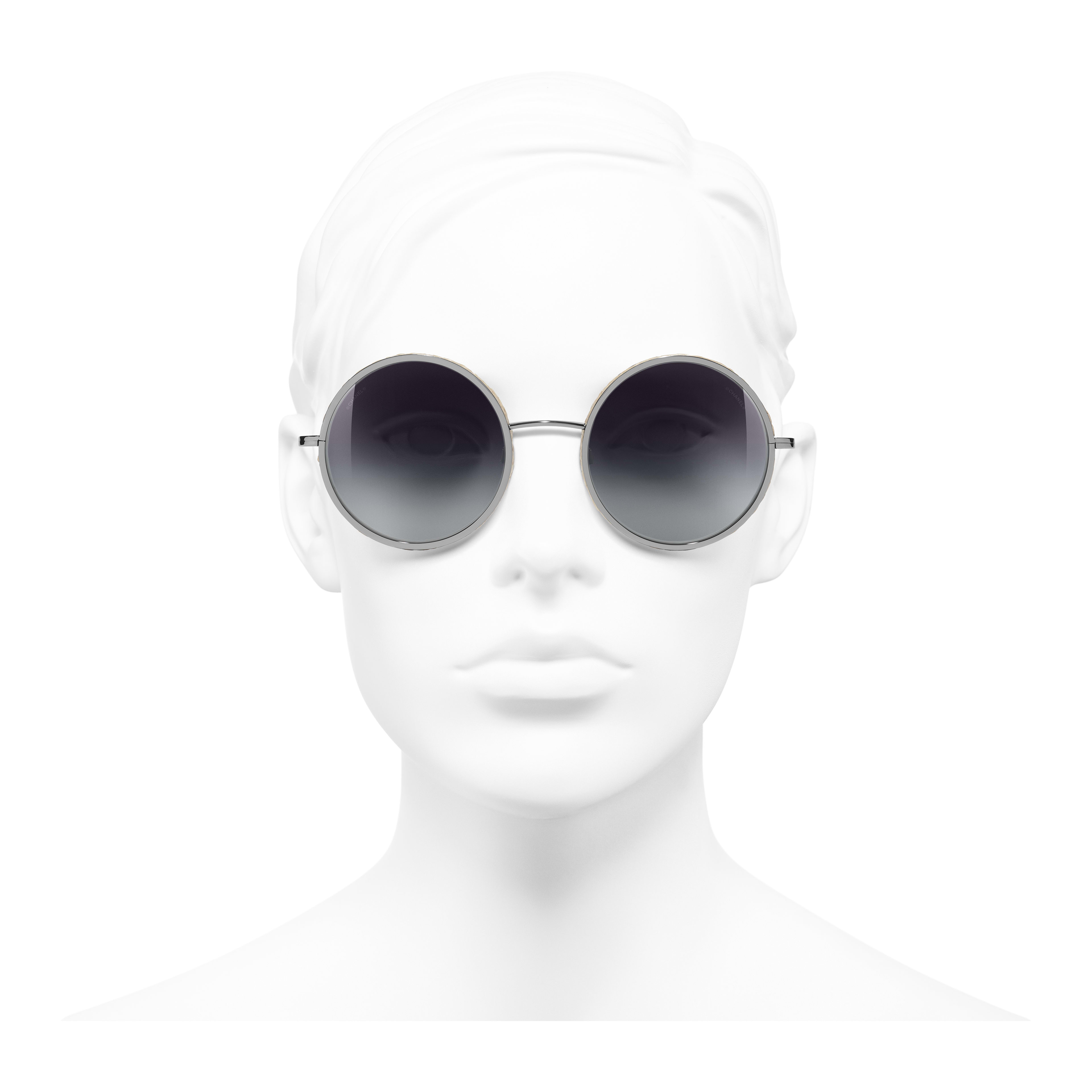 Round Sunglasses - Dark Silver - Metal & Rope - Worn front view - see full sized version