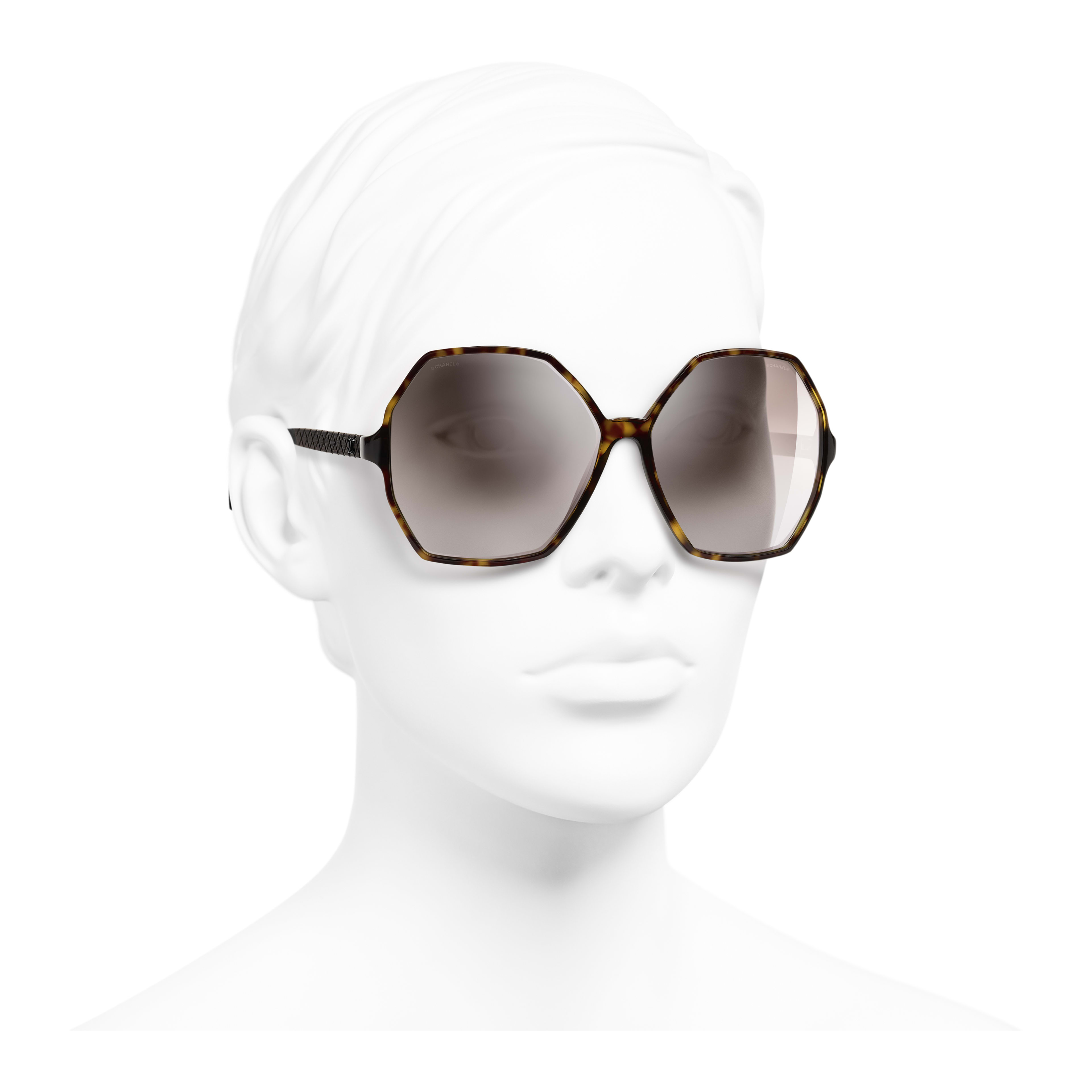Round Sunglasses - Dark Tortoise - Acetate, Wood & Rubber - Worn 3/4 view - see full sized version