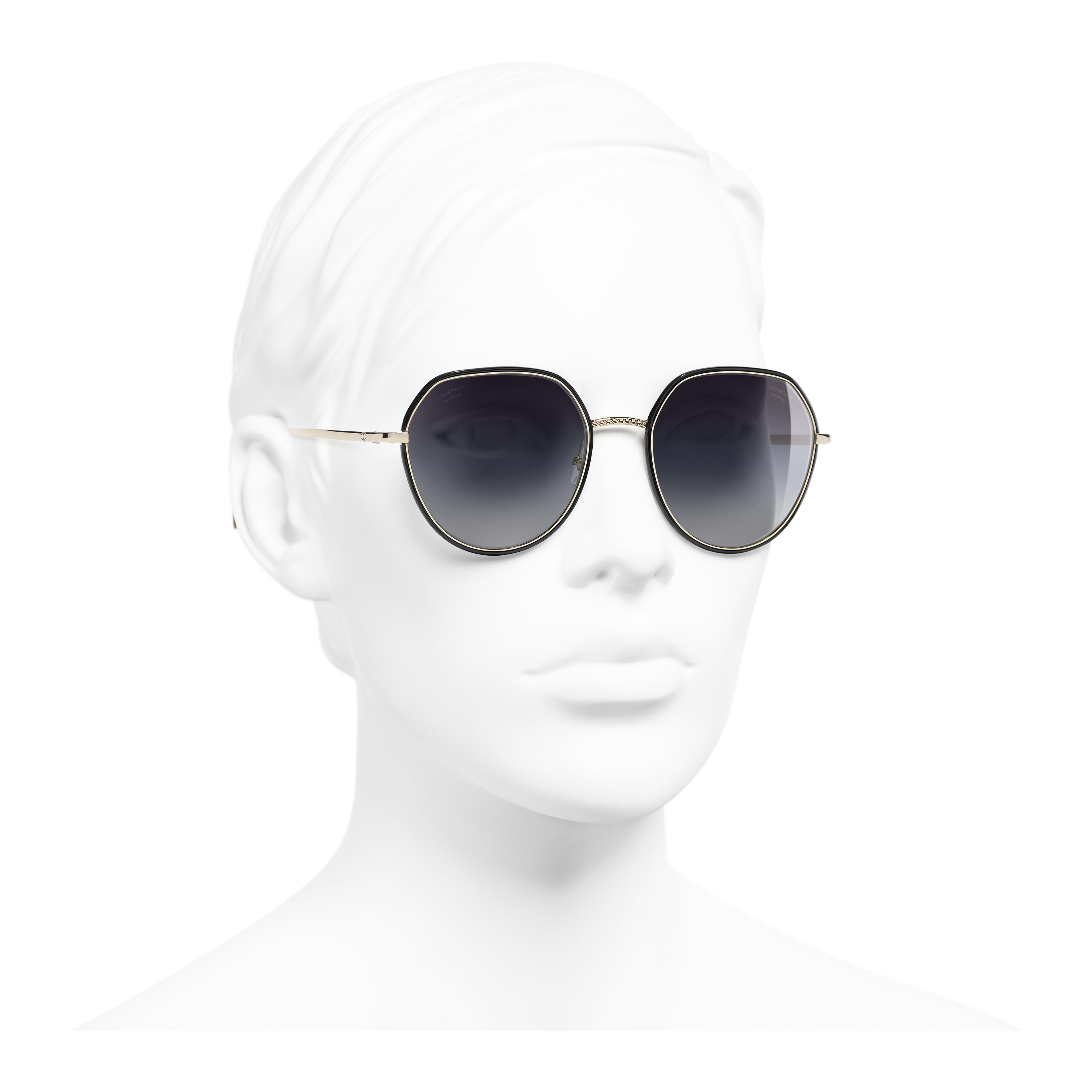 Round Sunglasses - Gold & Black - Metal - Polarized Lenses - Worn 3/4 view - see full sized version