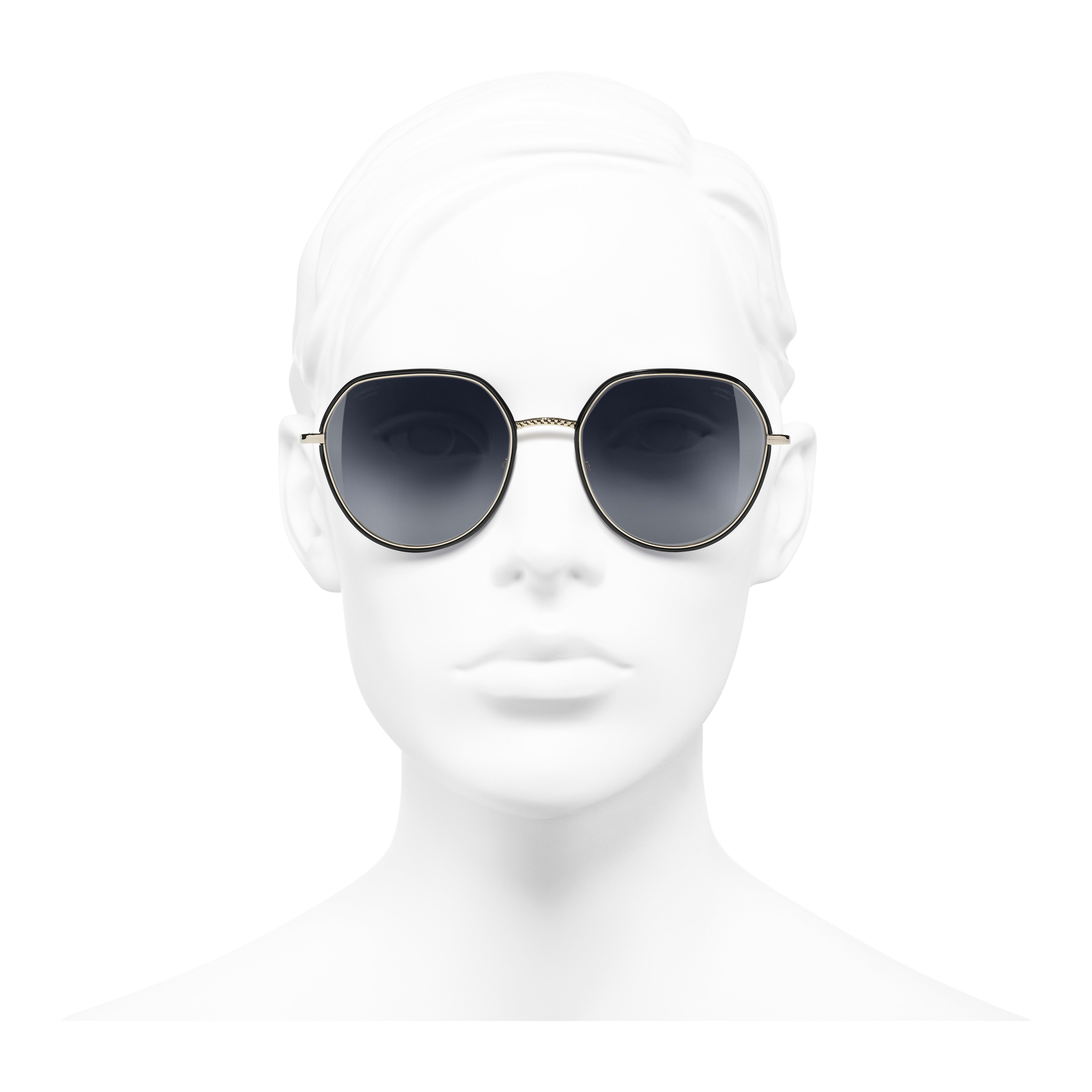 Round Sunglasses - Gold & Black - Metal - Polarized Lenses - Worn front view - see full sized version