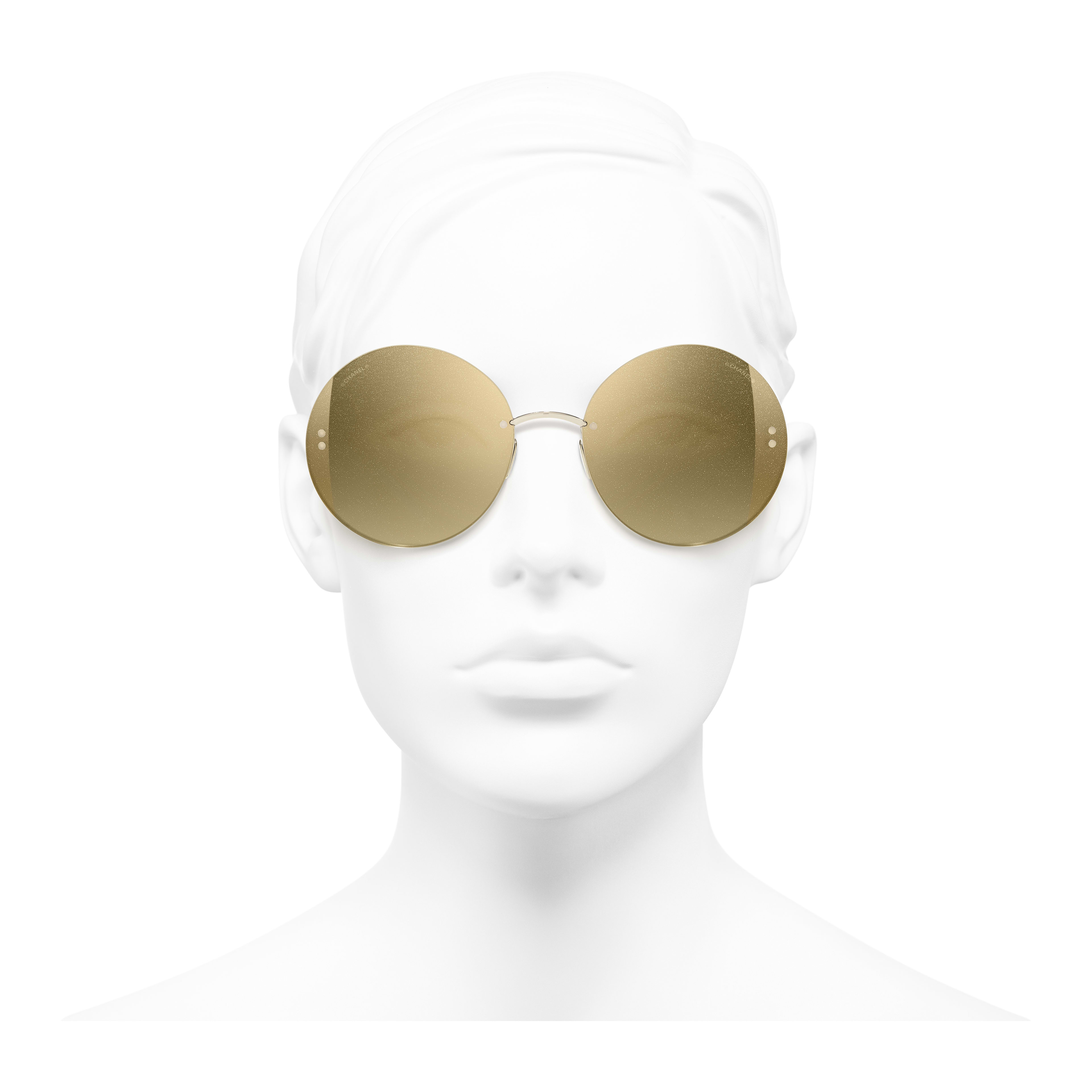 Round Sunglasses - Gold - Metal - Worn front view - see full sized version