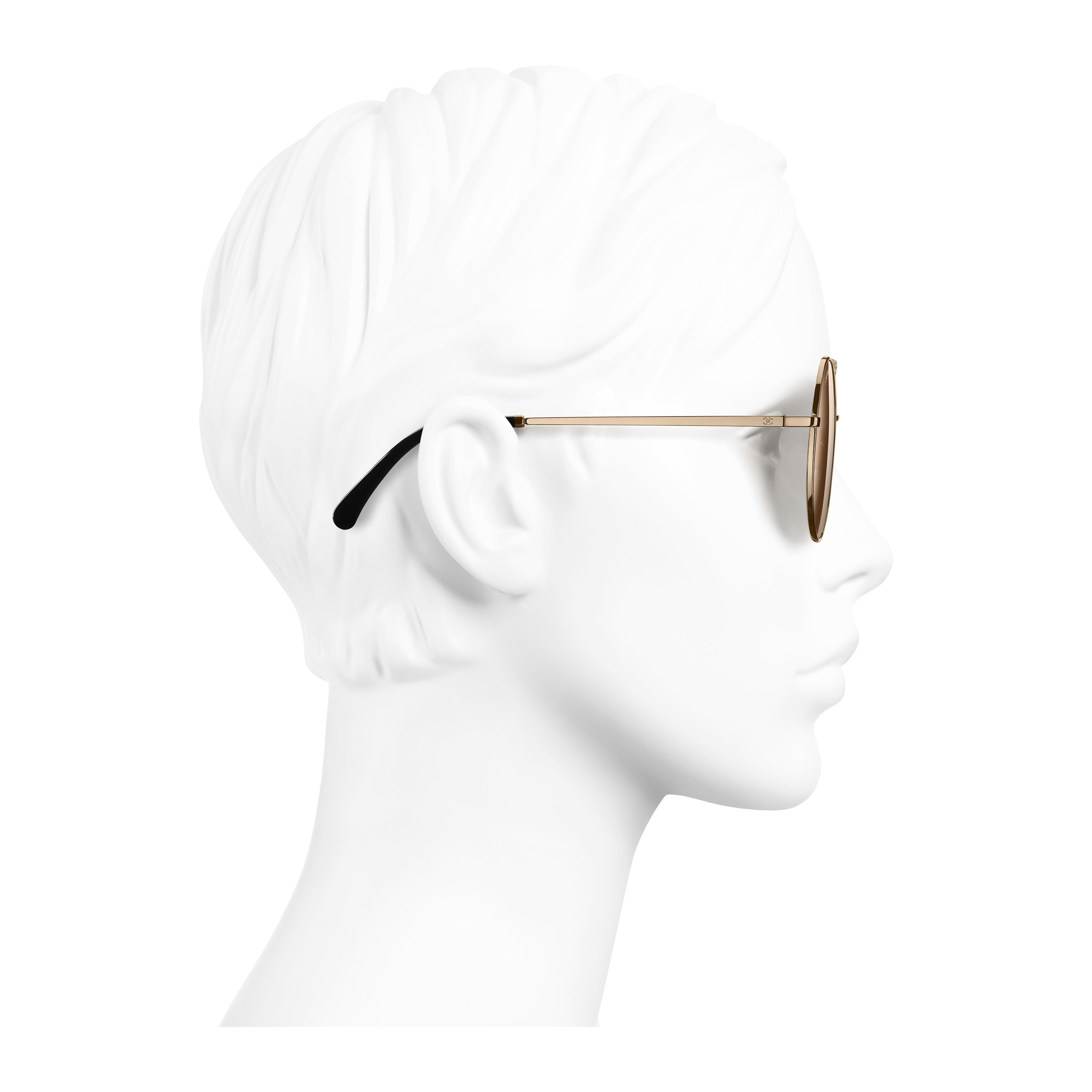Round Sunglasses - Gold - Metal - Worn side view - see full sized version