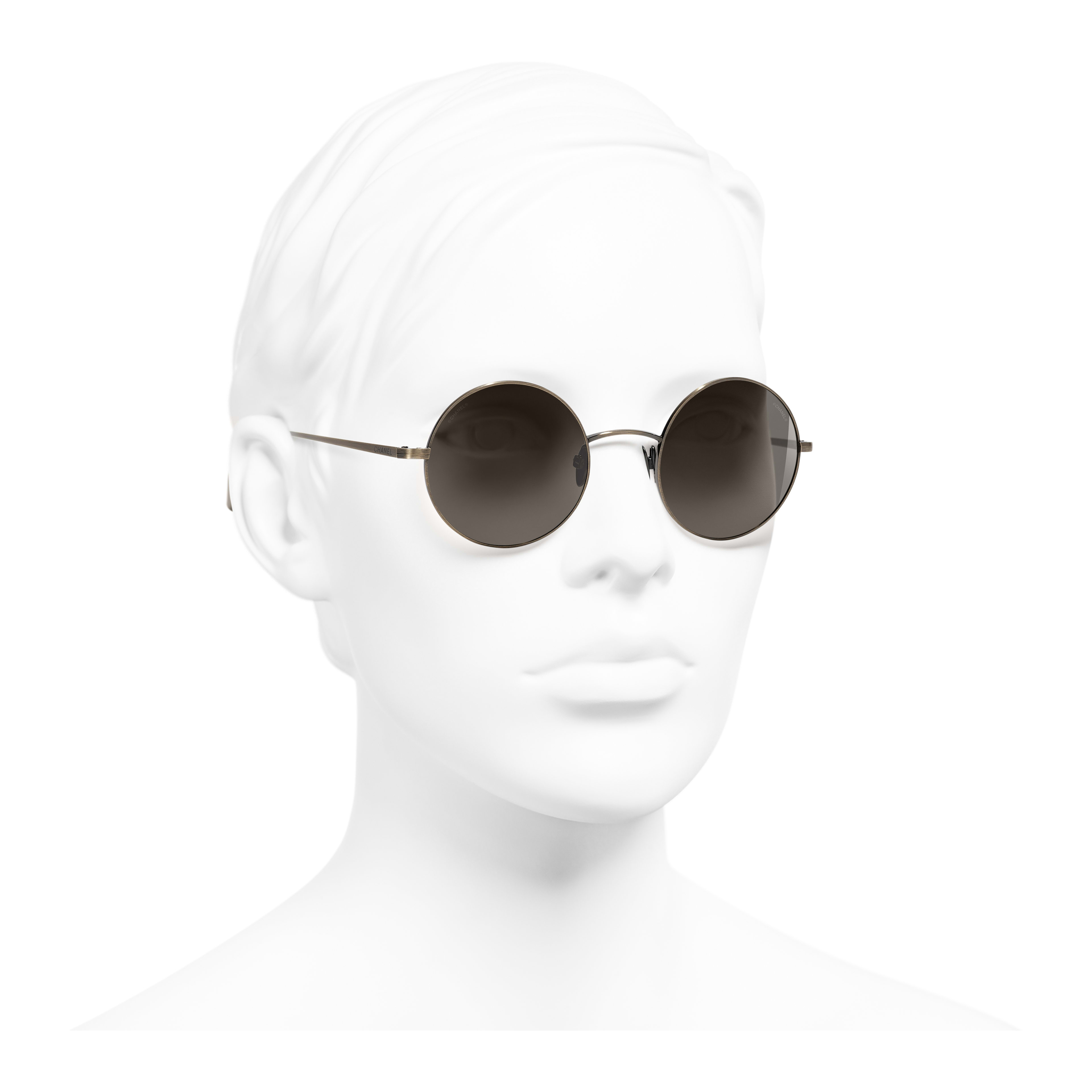 Round Sunglasses - Gold - Titanium - Worn 3/4 view - see full sized version