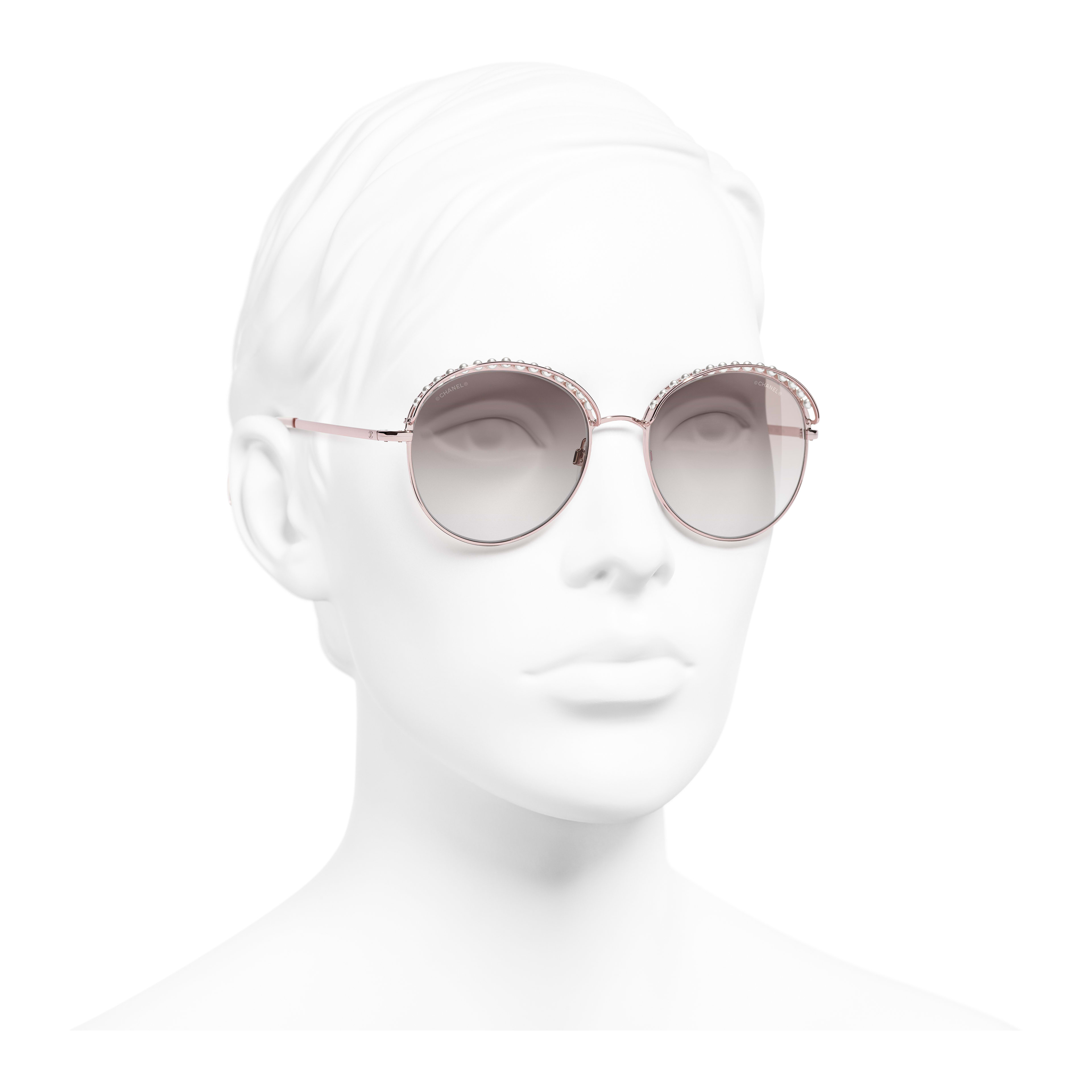 Round Sunglasses - Pinky Gold - Metal & Imitation Pearls - Worn 3/4 view - see full sized version