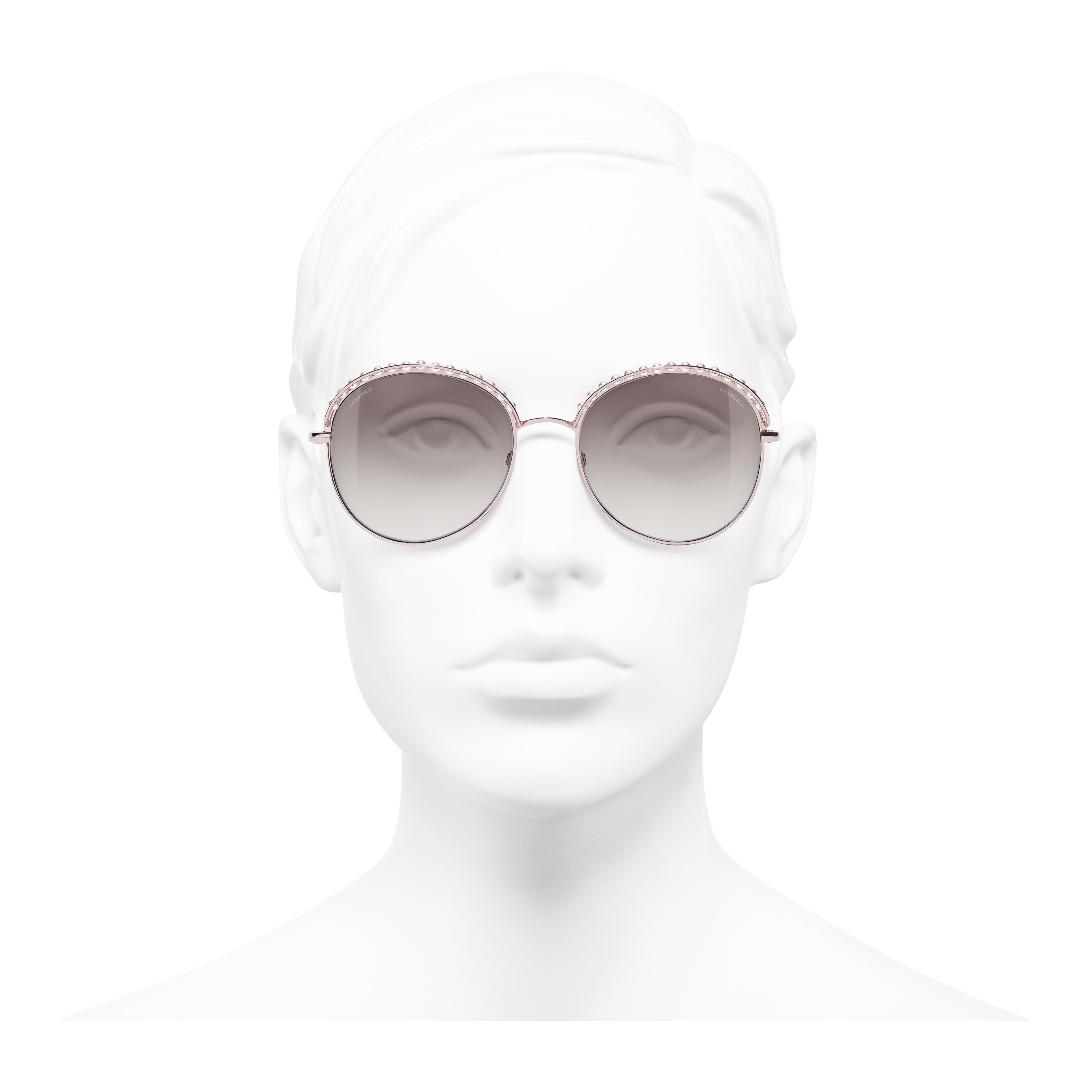 Round Sunglasses - Pinky Gold - Metal & Imitation Pearls - Worn front view - see full sized version