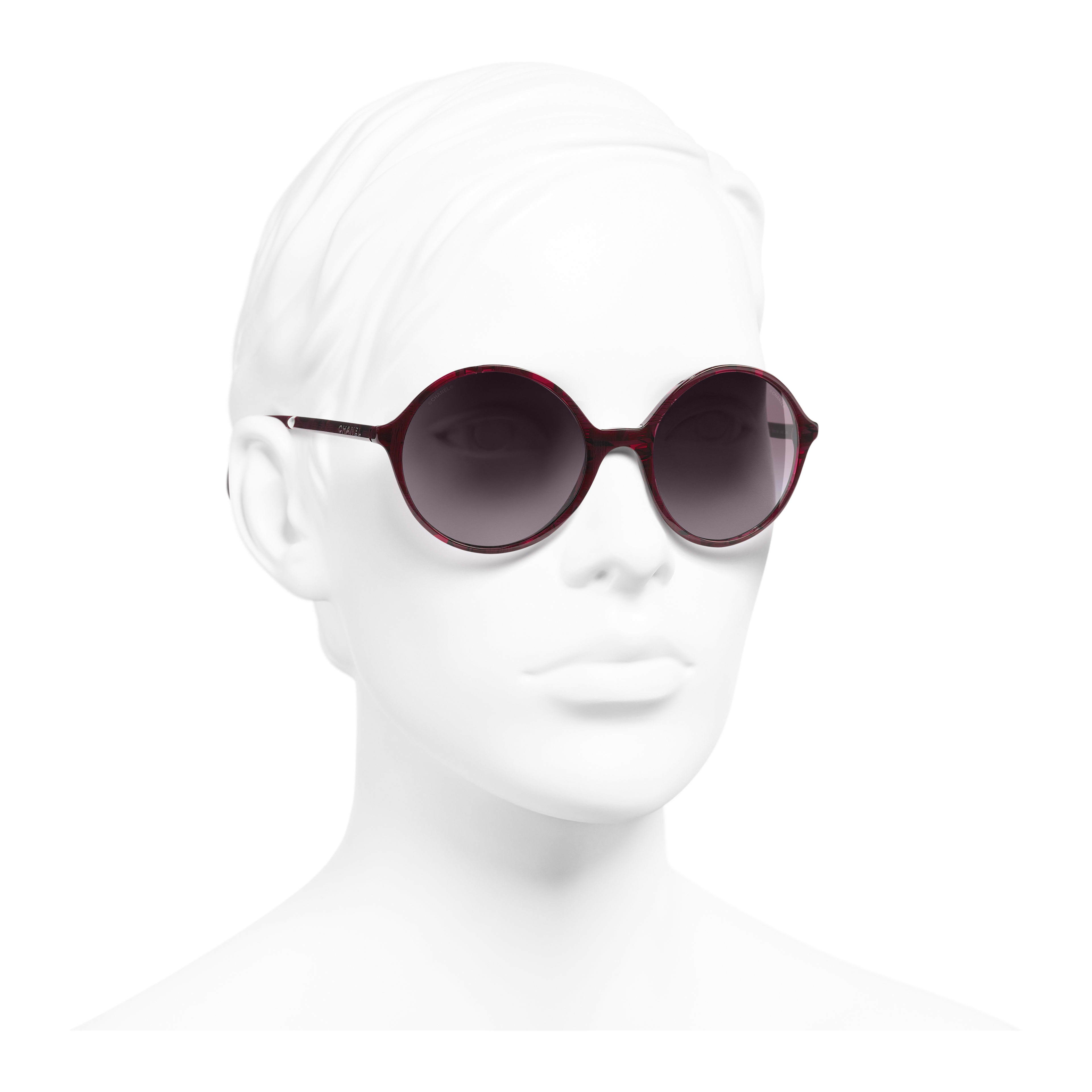 Round Sunglasses - Red - Acetate & Imitation Pearls - Worn 3/4 view - see full sized version