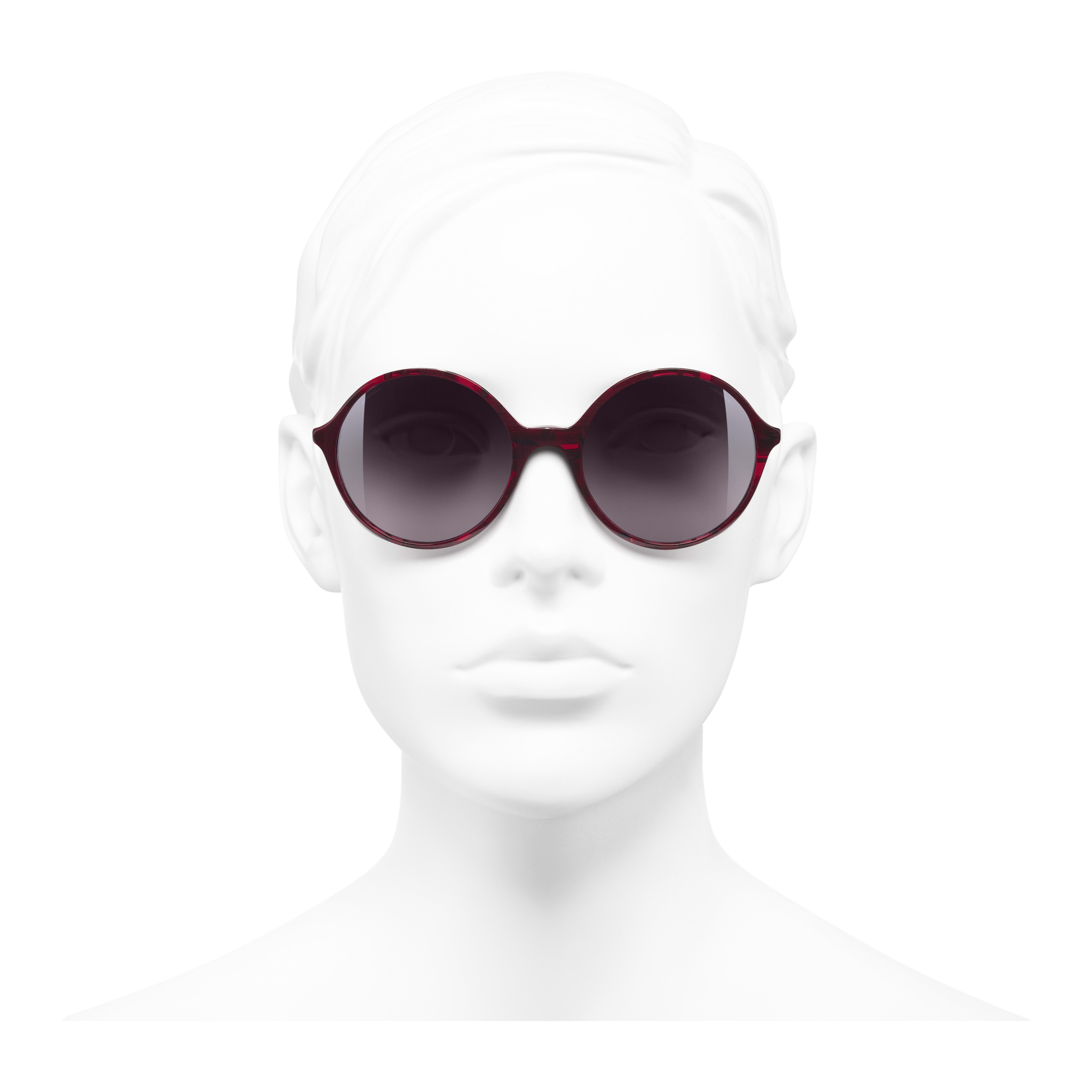 Round Sunglasses - Red - Acetate & Imitation Pearls - Worn front view - see full sized version