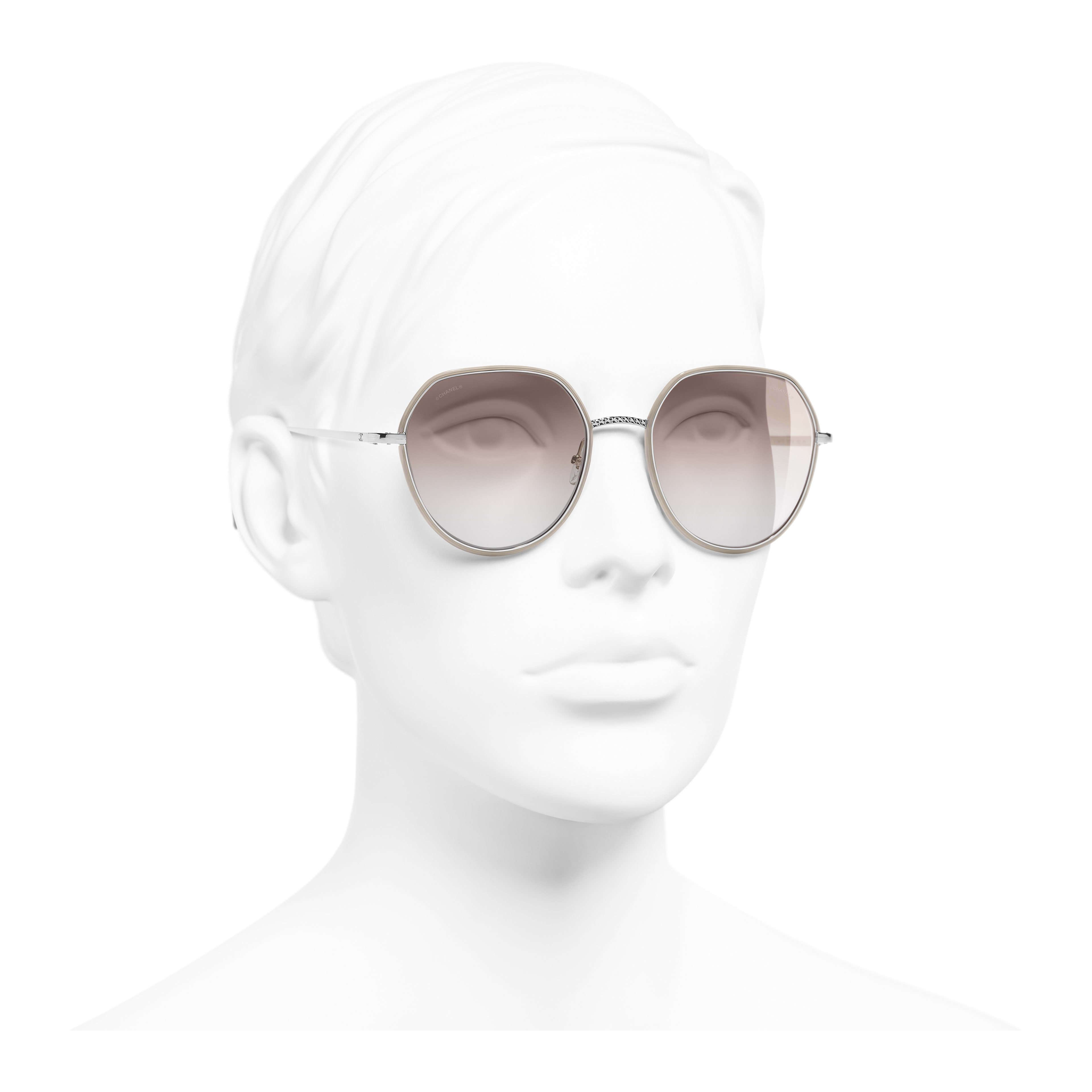 Round Sunglasses - Silver & Beige - Metal - Worn 3/4 view - see full sized version