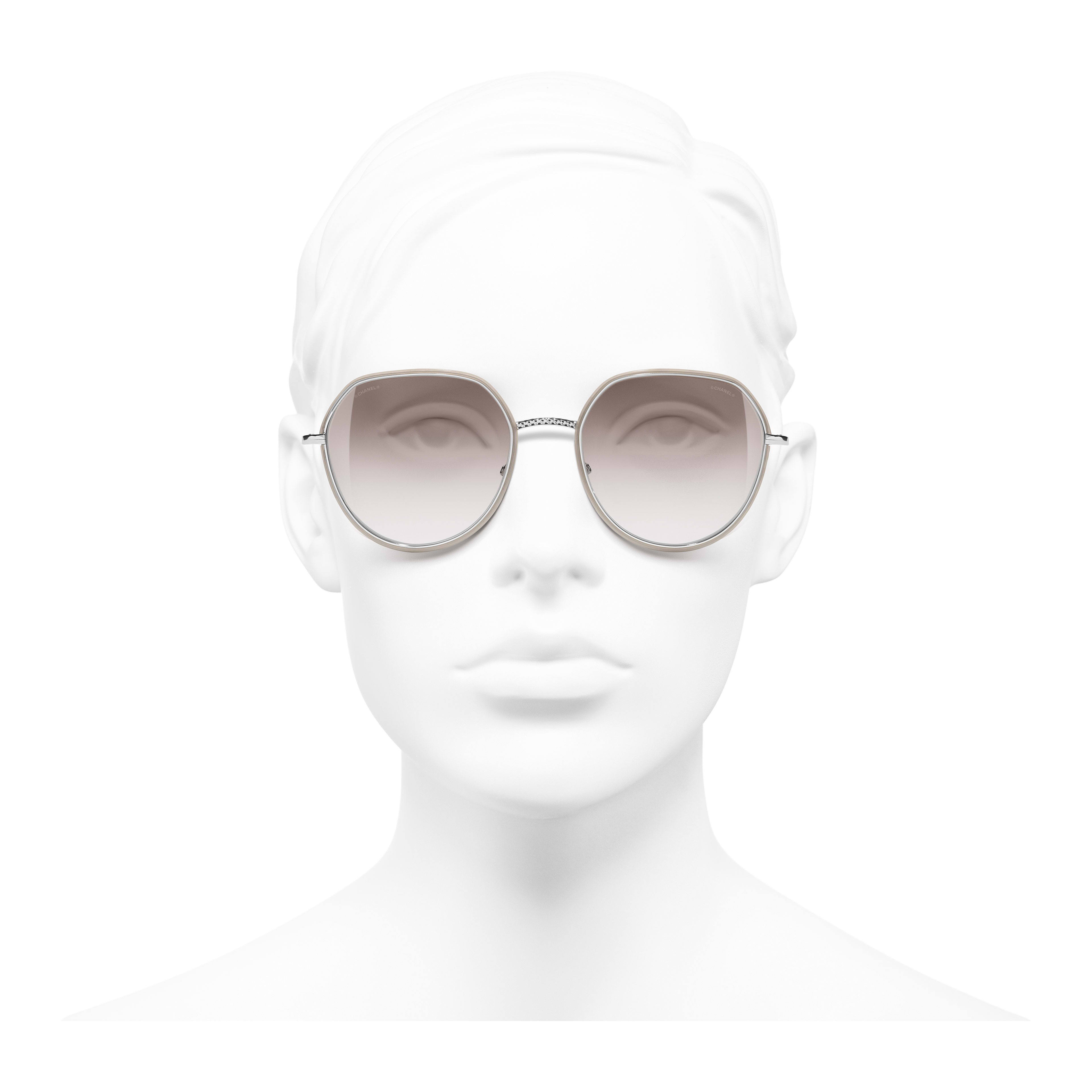 Round Sunglasses - Silver & Beige - Metal - Worn front view - see full sized version