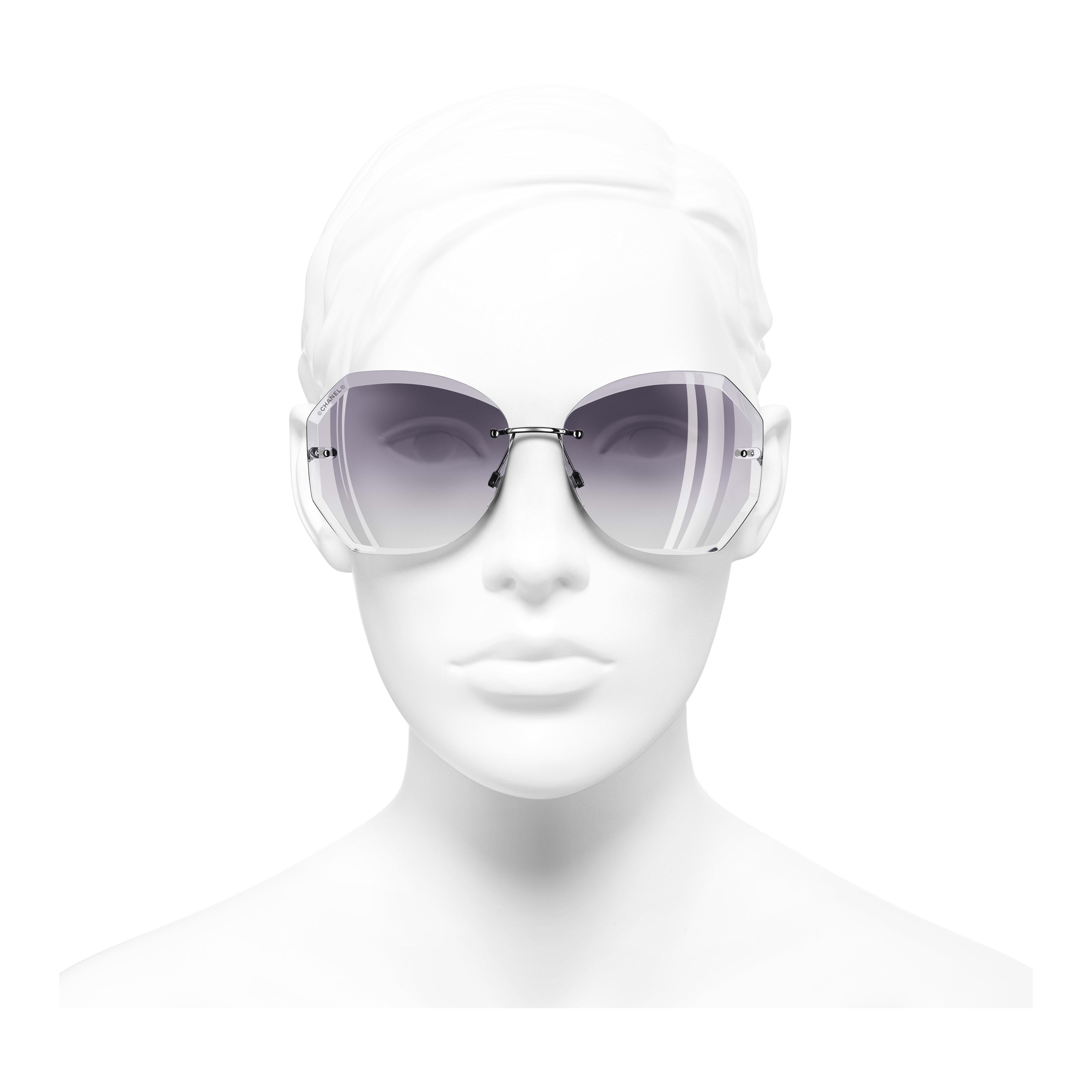 Солнцезащитные очки круглой формы - Серебристый и серый - Металл - Вид анфас - посмотреть полноразмерное изображение