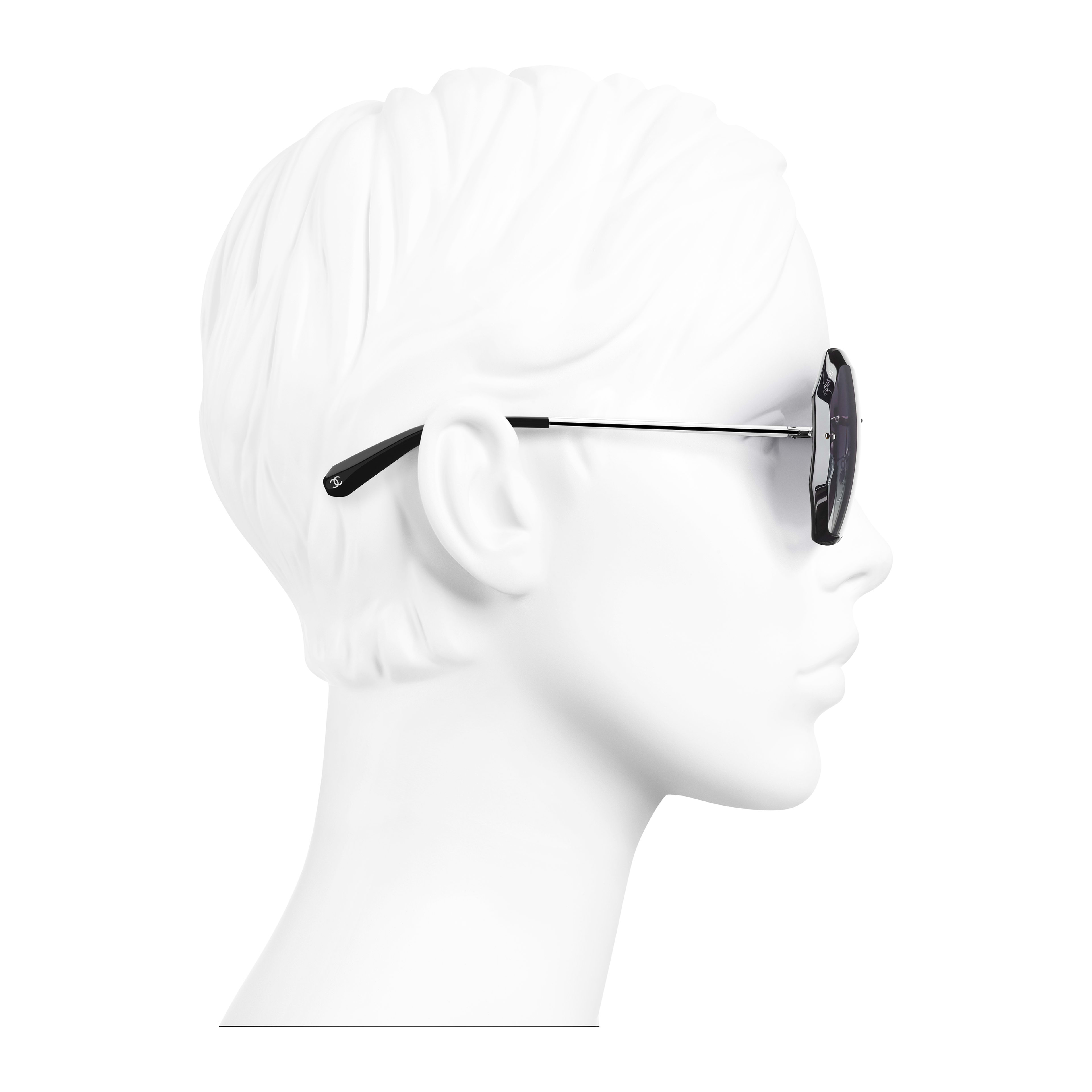 Round Sunglasses - Silver & Grey - Metal - Worn side view - see full sized version