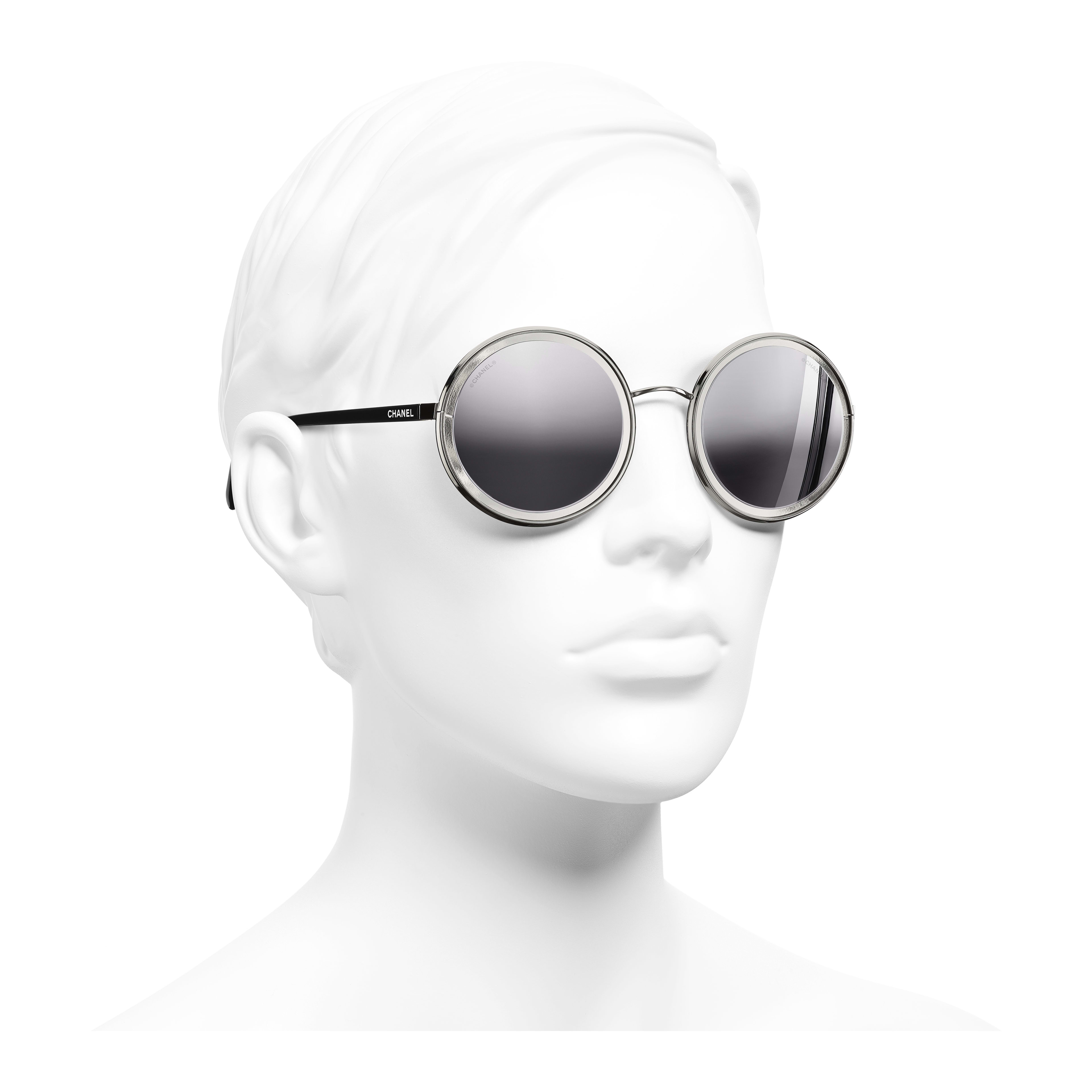 Round Sunglasses - Silver - Metal - Worn 3/4 view - see full sized version