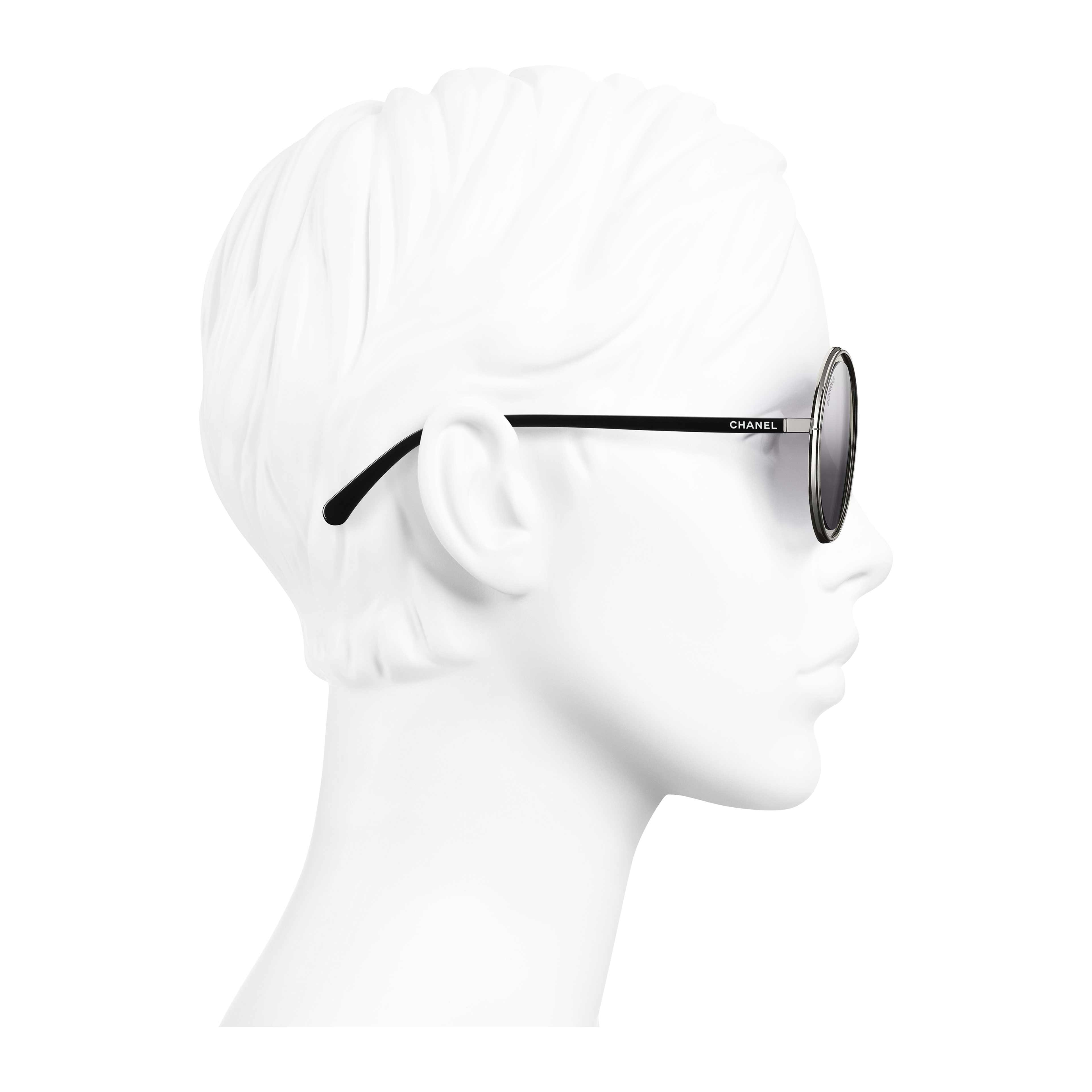 Round Sunglasses - Silver - Metal - Worn side view - see full sized version