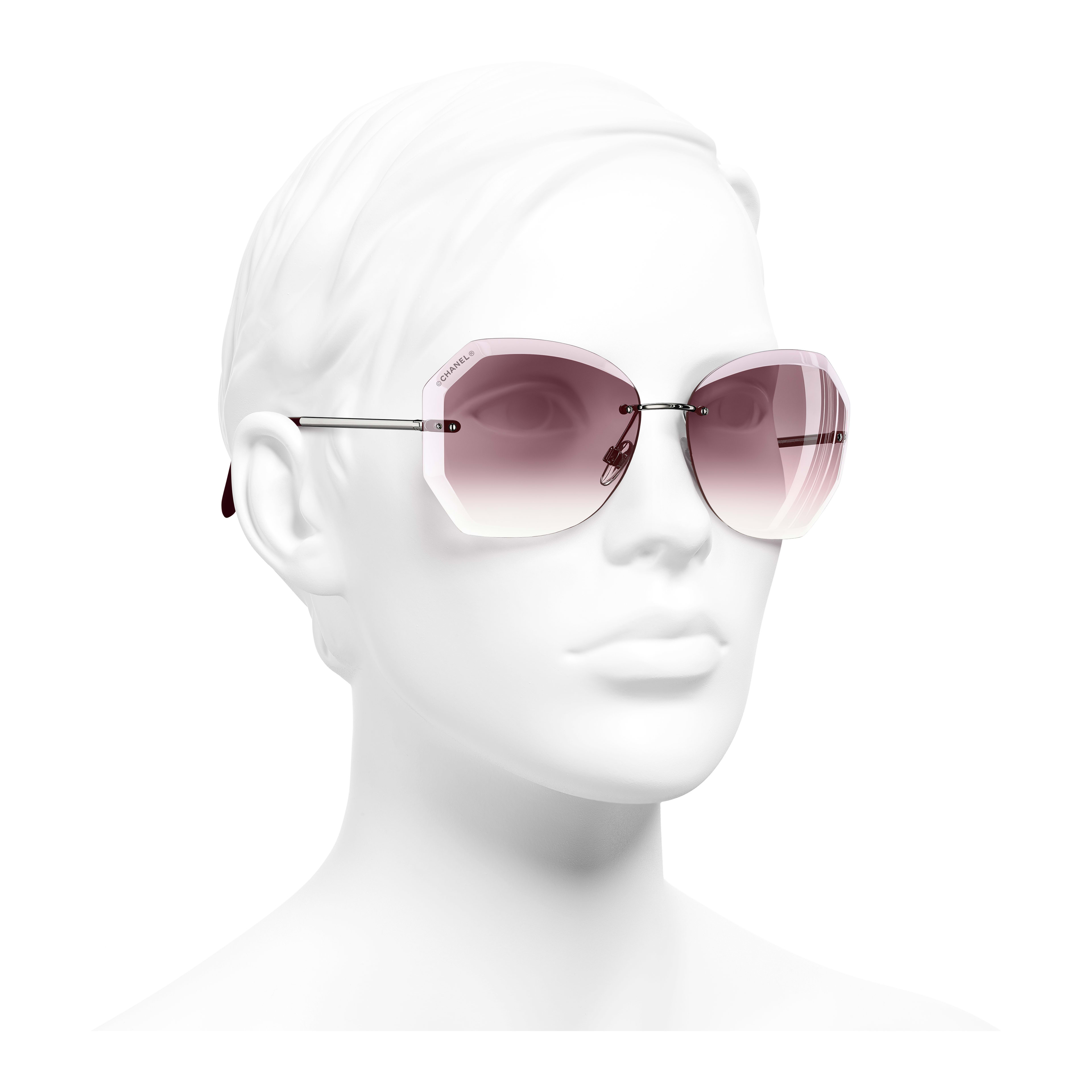 Round Sunglasses - Silver & Pink - Metal - Worn 3/4 view - see full sized version