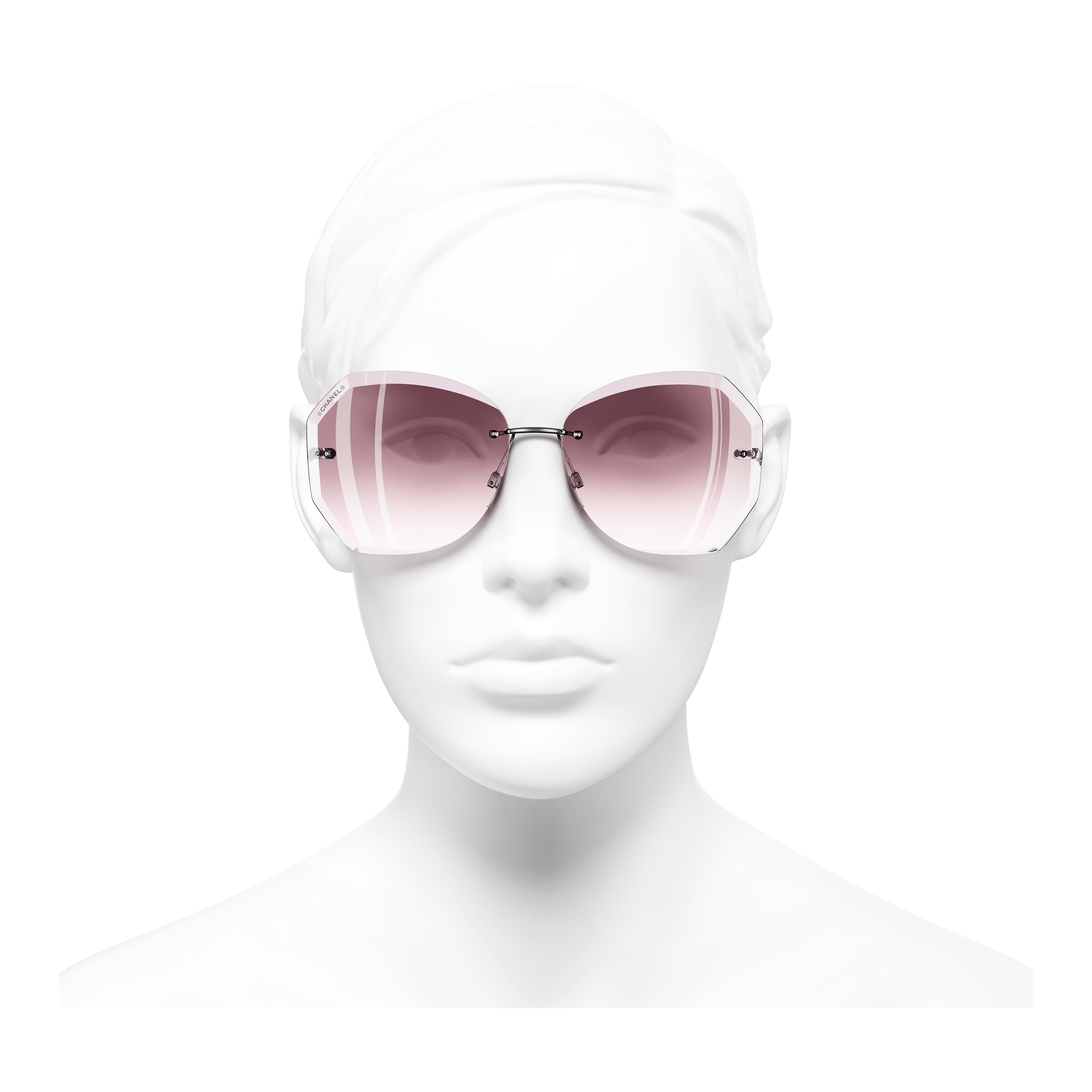 Round Sunglasses - Silver & Pink - Metal - Worn front view - see full sized version