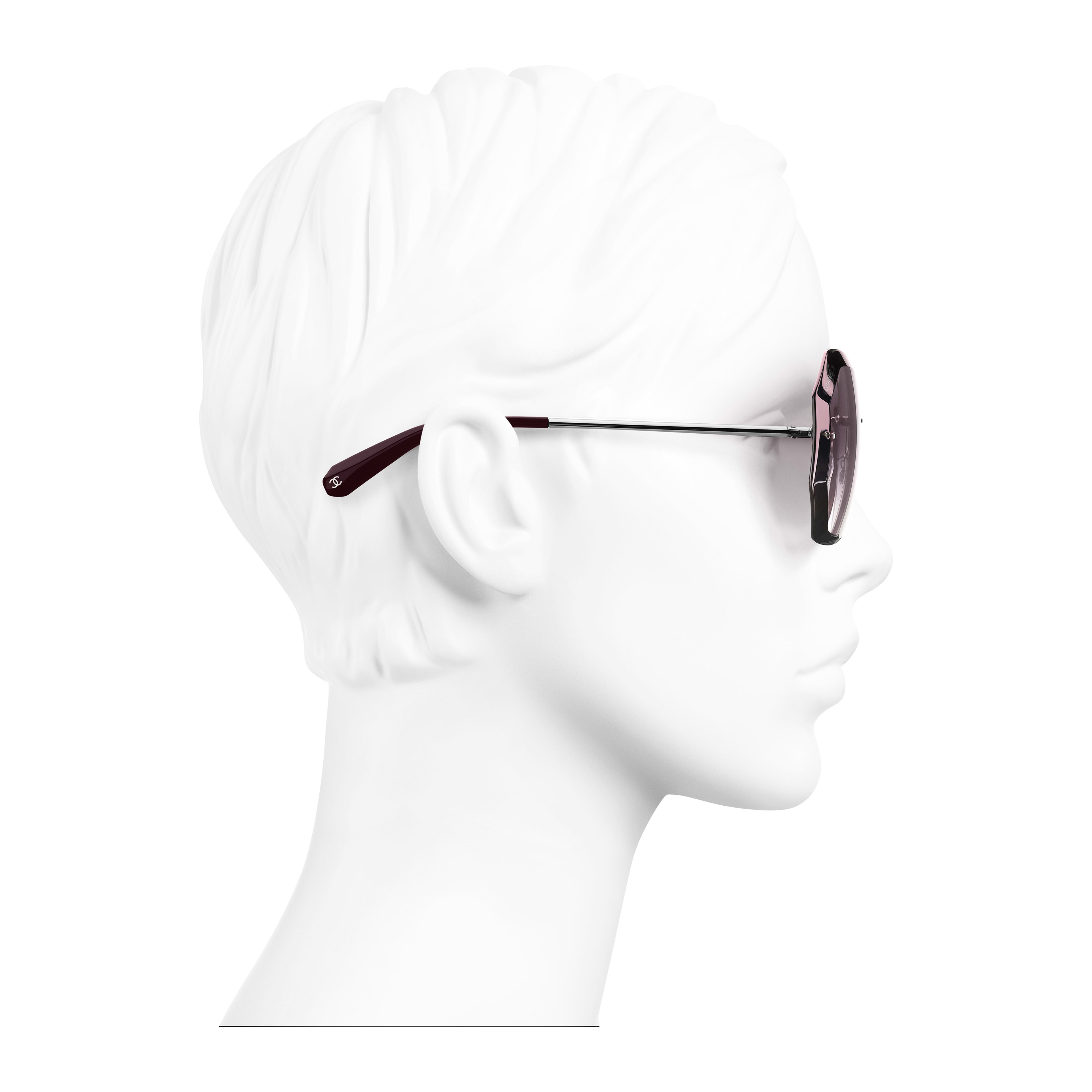 Round Sunglasses - Silver & Pink - Metal - Worn side view - see full sized version