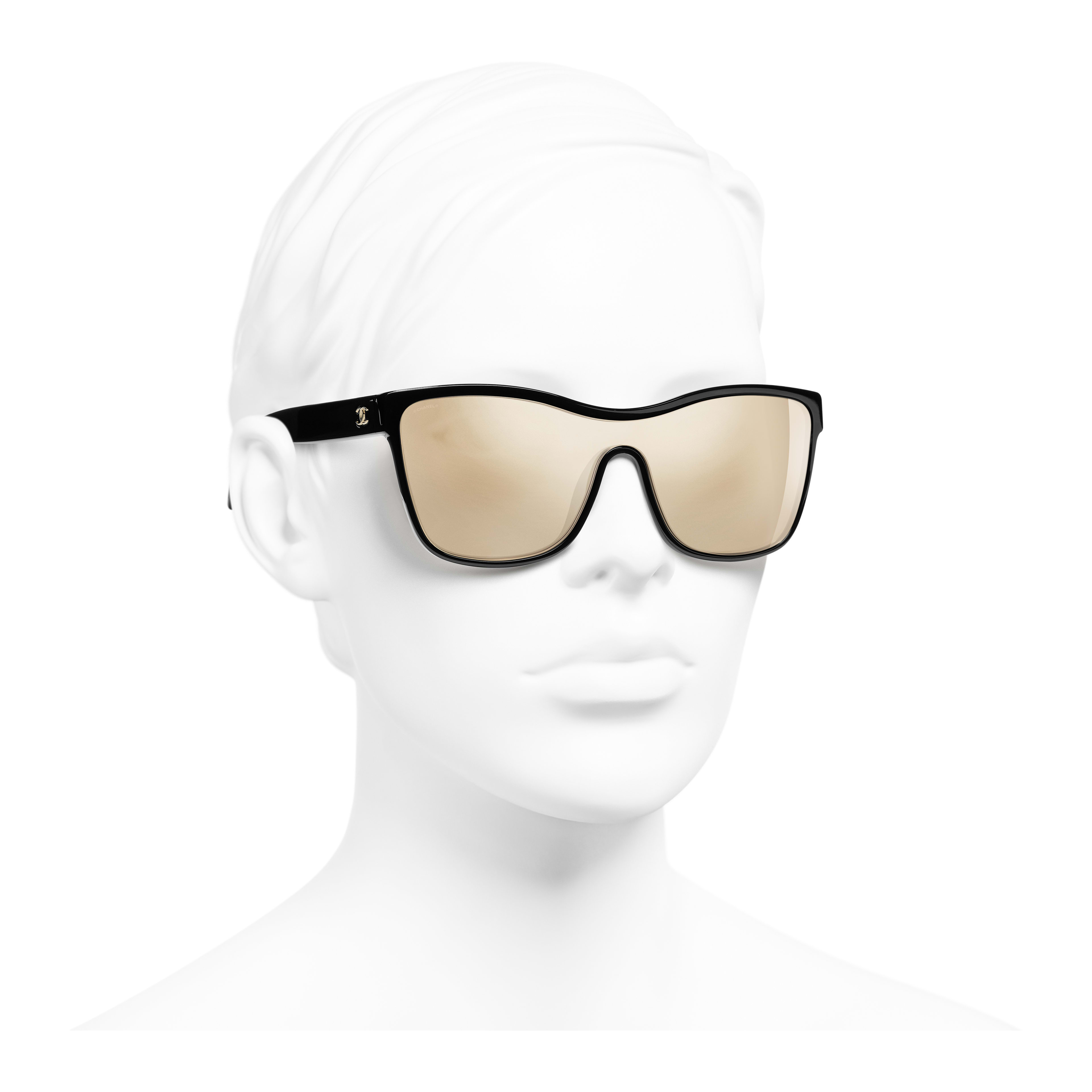 Shield Sunglasses - Black - Acetate - Worn 3/4 view - see full sized version