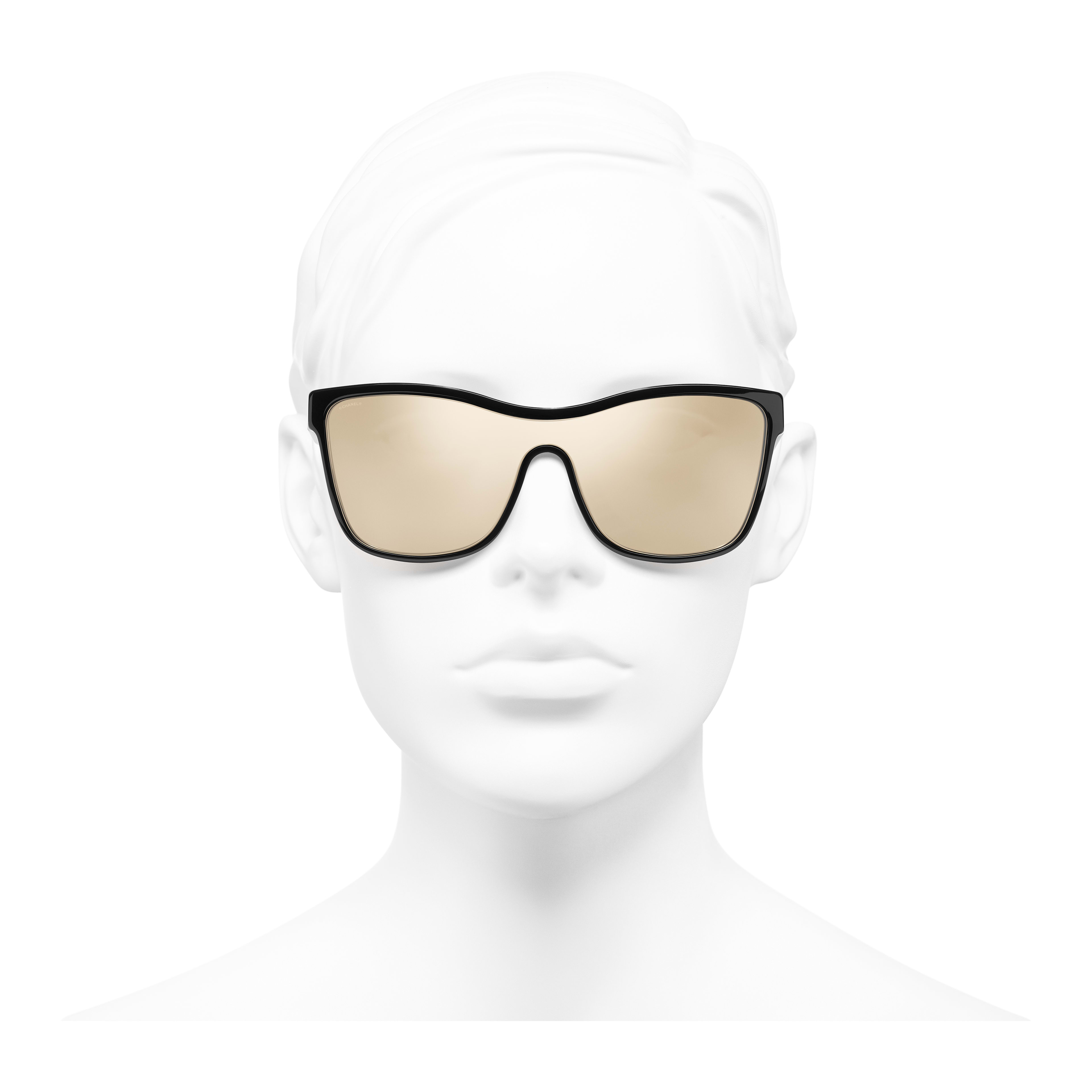 Shield Sunglasses - Black - Acetate - Worn front view - see full sized version