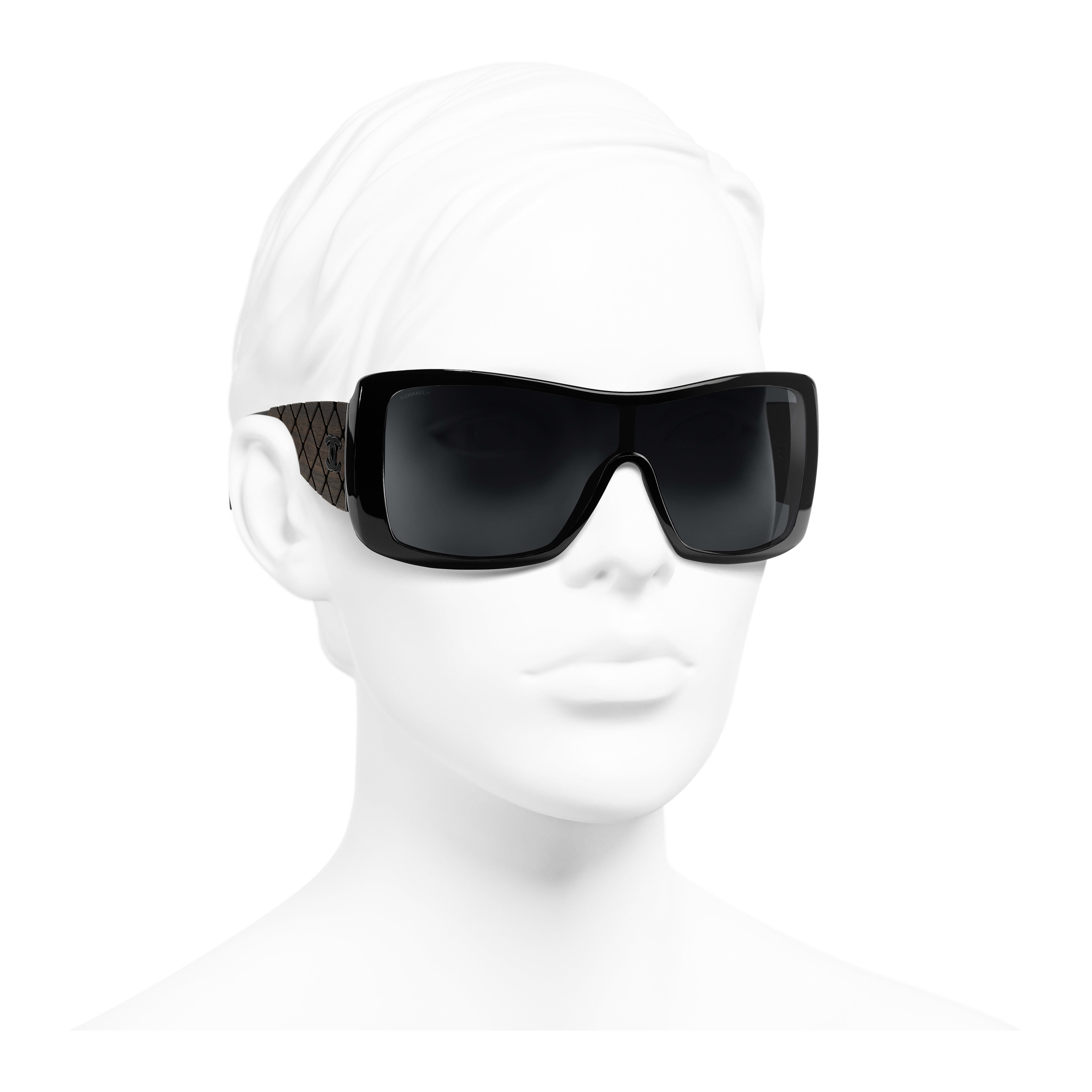 Shield Sunglasses - Black - Acetate, Wood & Rubber - Worn 3/4 view - see full sized version
