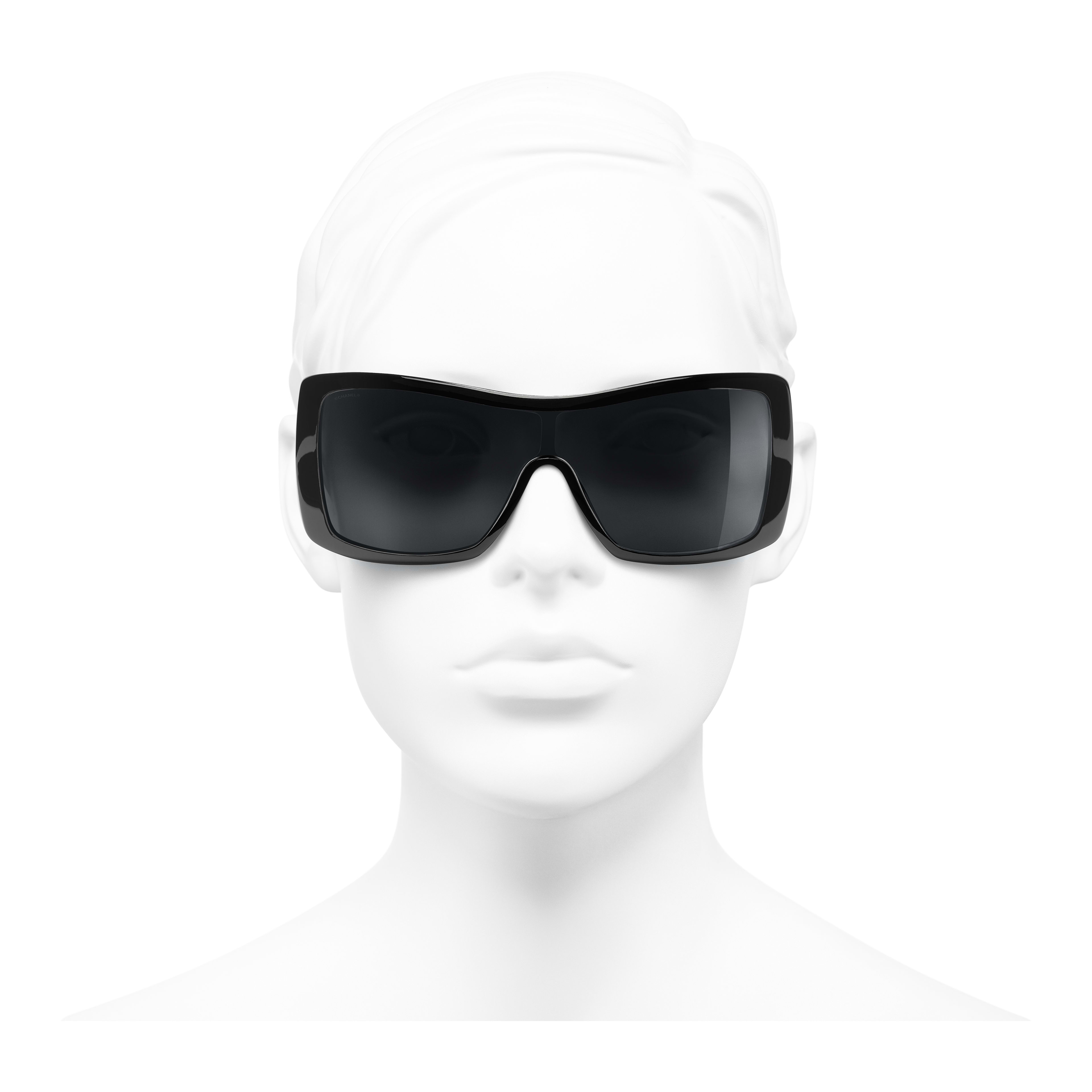 Shield Sunglasses - Black - Acetate, Wood & Rubber - Worn front view - see full sized version