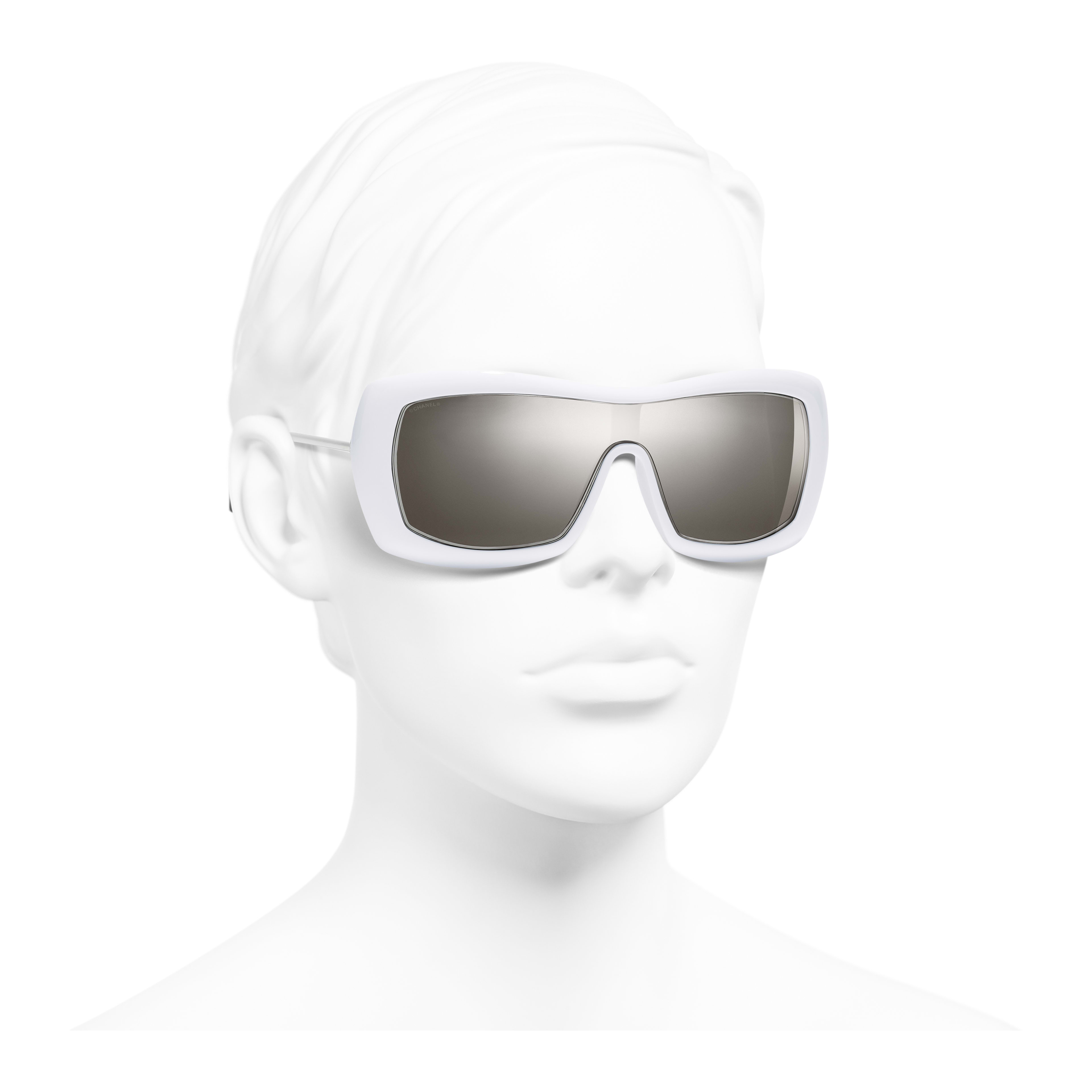 Shield Sunglasses - White - Acetate & Metal - Worn 3/4 view - see full sized version