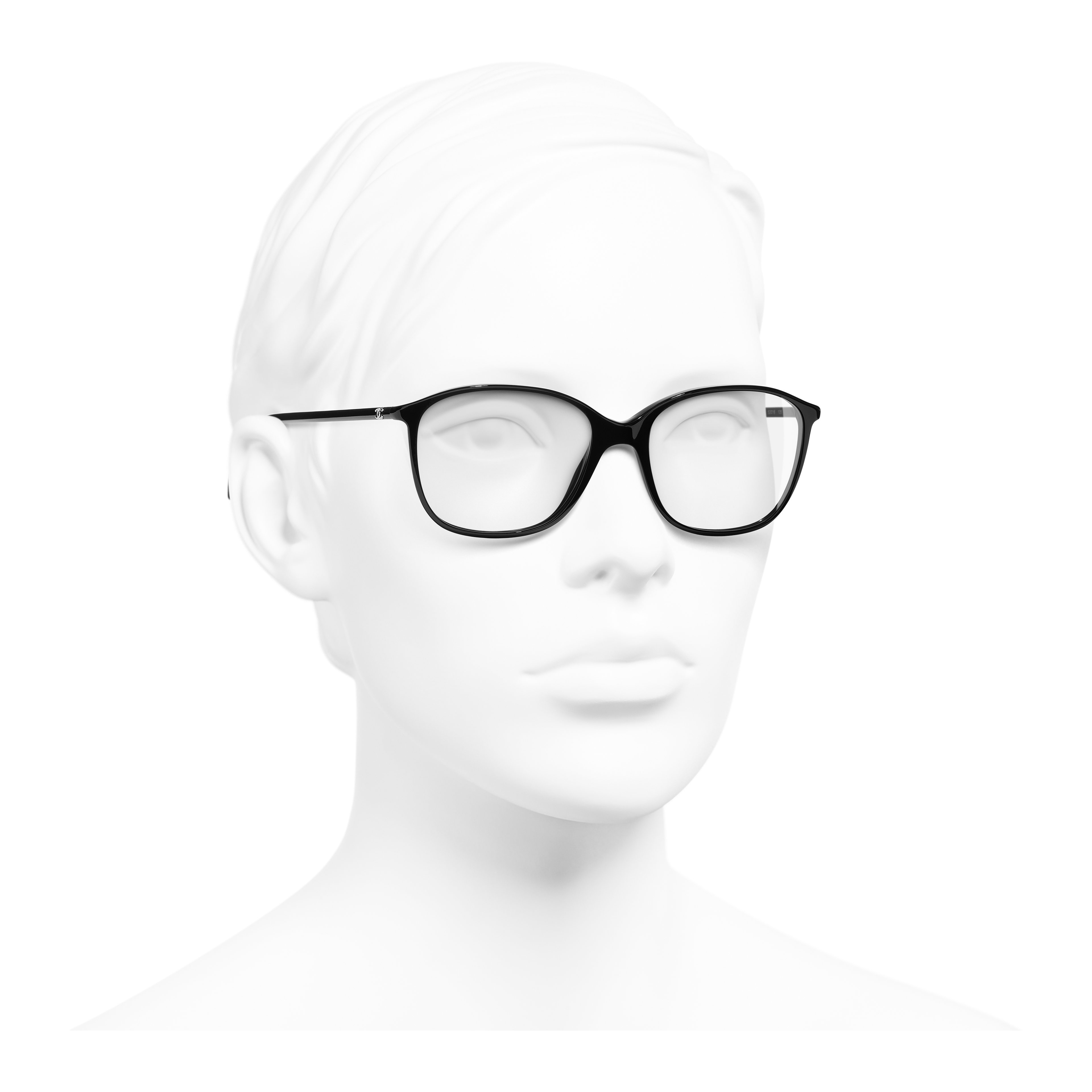 Square Eyeglasses - Black - Acetate - Worn 3/4 view - see full sized version