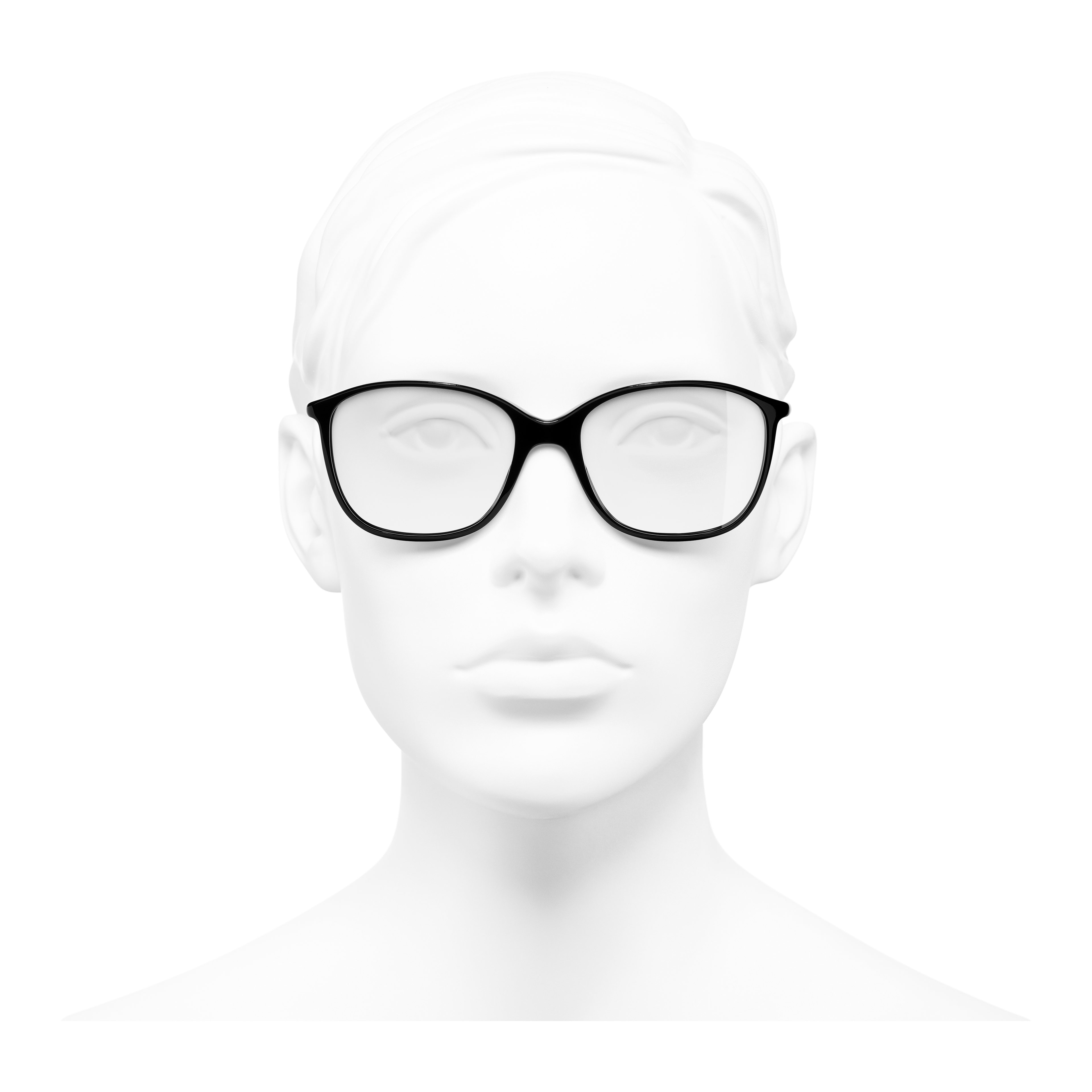 Square Eyeglasses - Black - Acetate - Worn front view - see full sized version