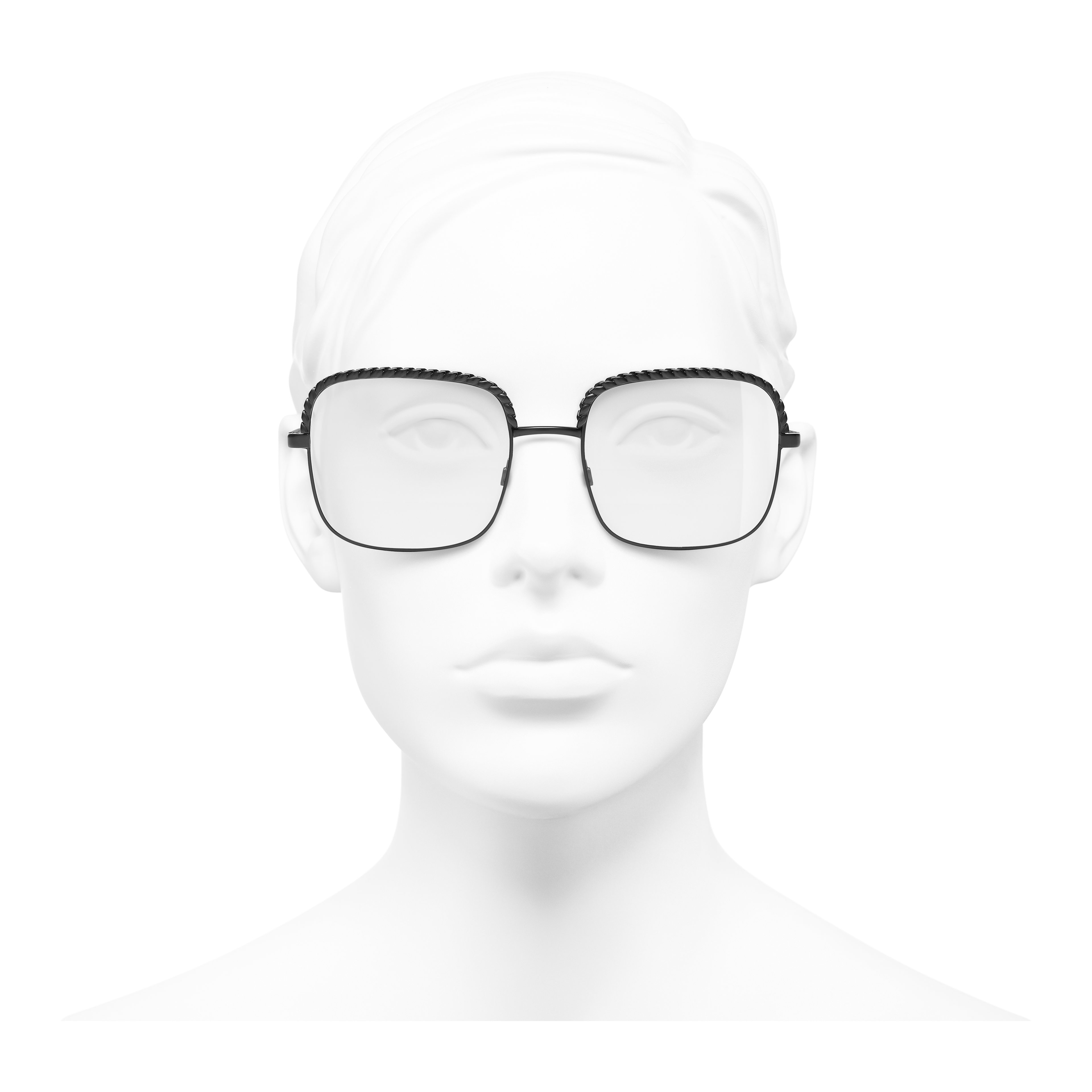 Square Eyeglasses - Black - Metal - Worn front view - see full sized version