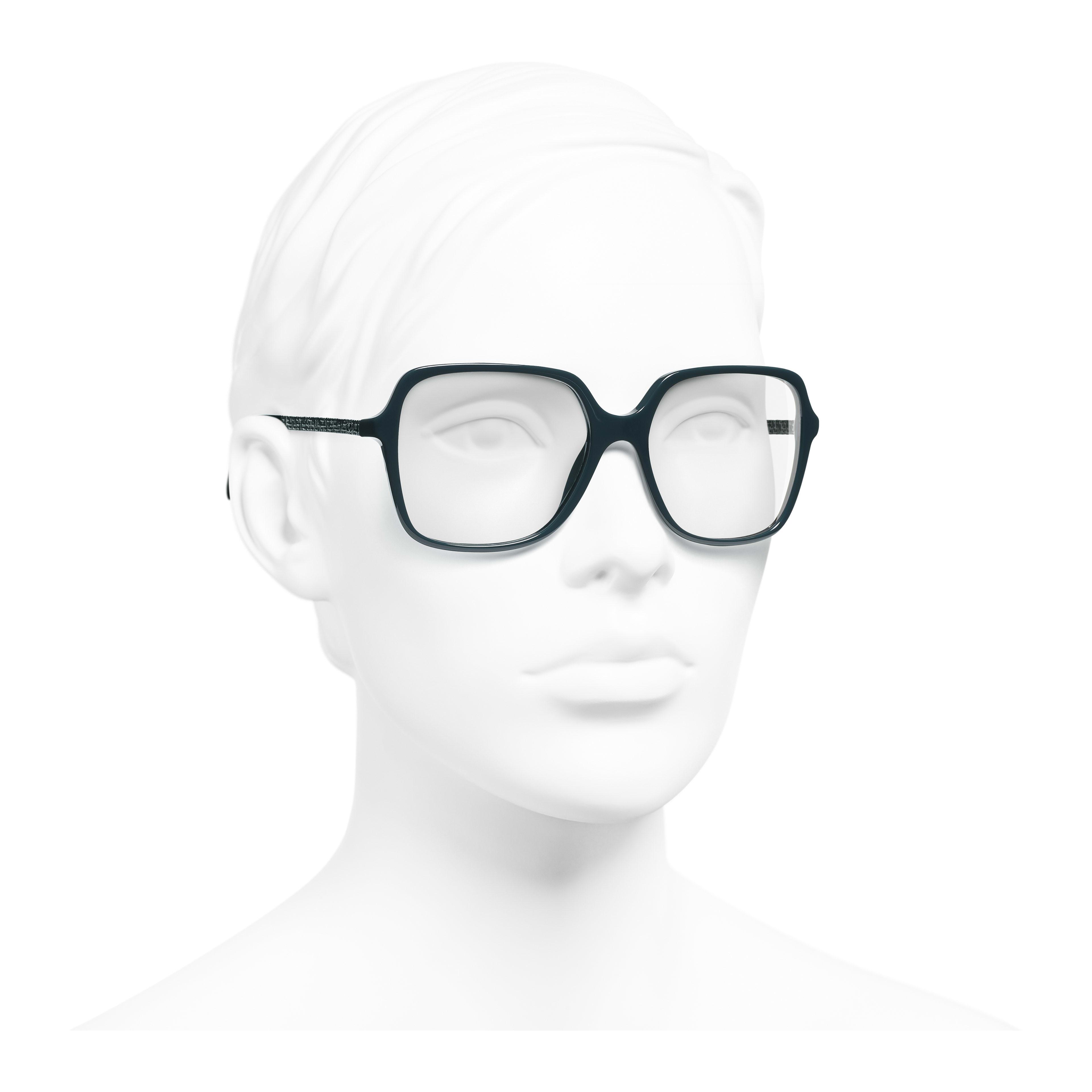 Square Eyeglasses - Dark Green - Acetate - Worn 3/4 view - see full sized version