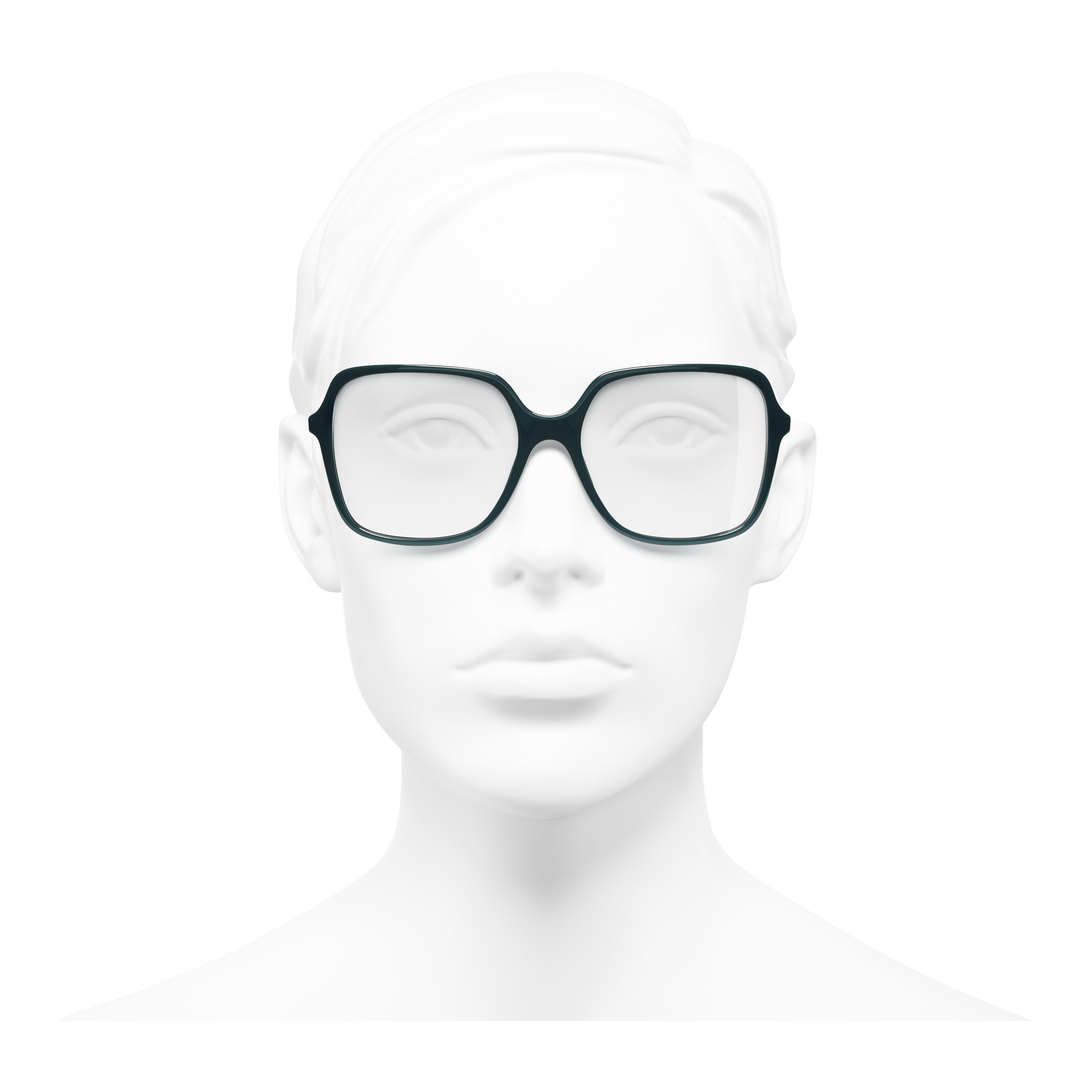 Square Eyeglasses - Dark Green - Acetate - Worn front view - see full sized version