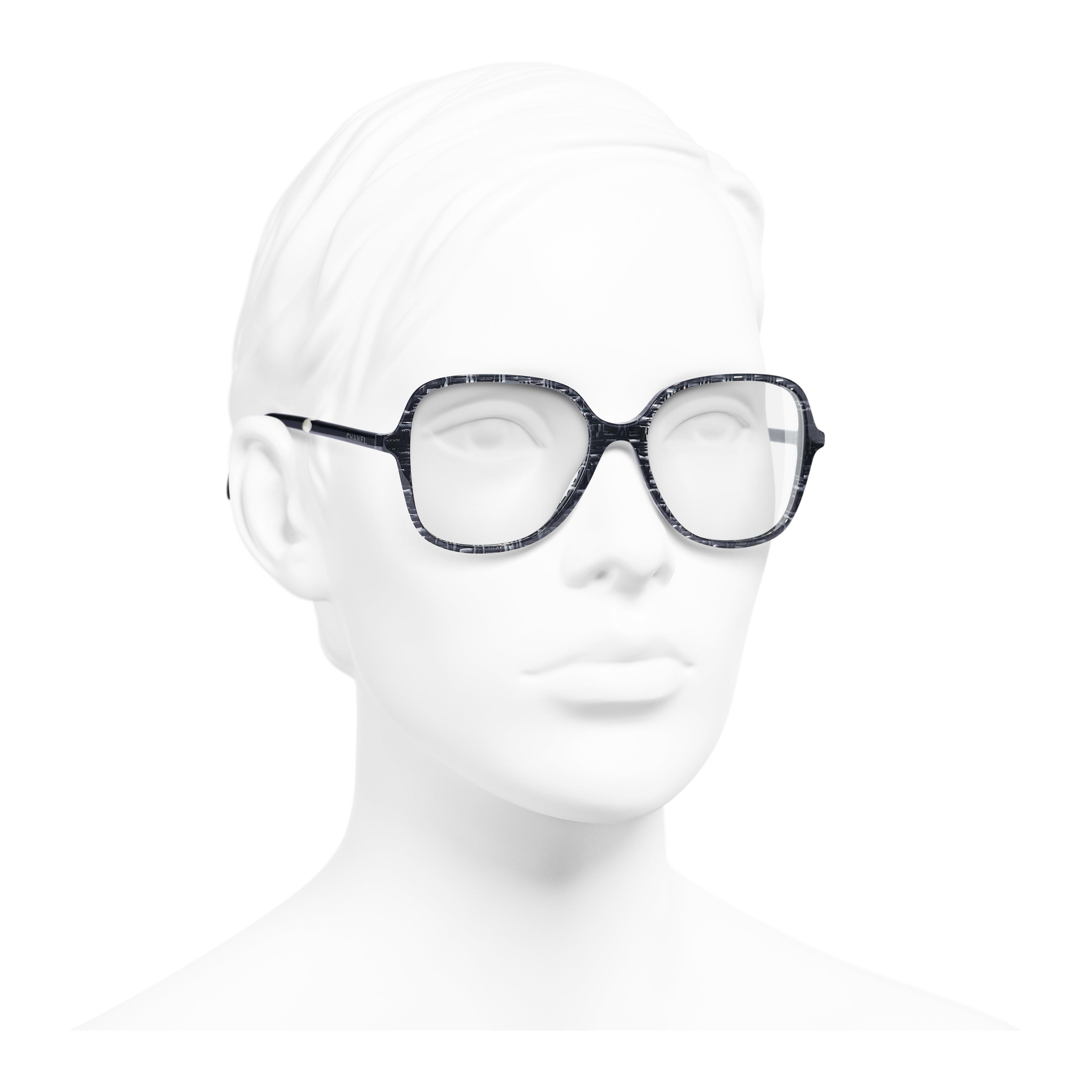Square Eyeglasses - Glittered Dark Blue - Acetate & Imitation Pearls - Worn 3/4 view - see full sized version