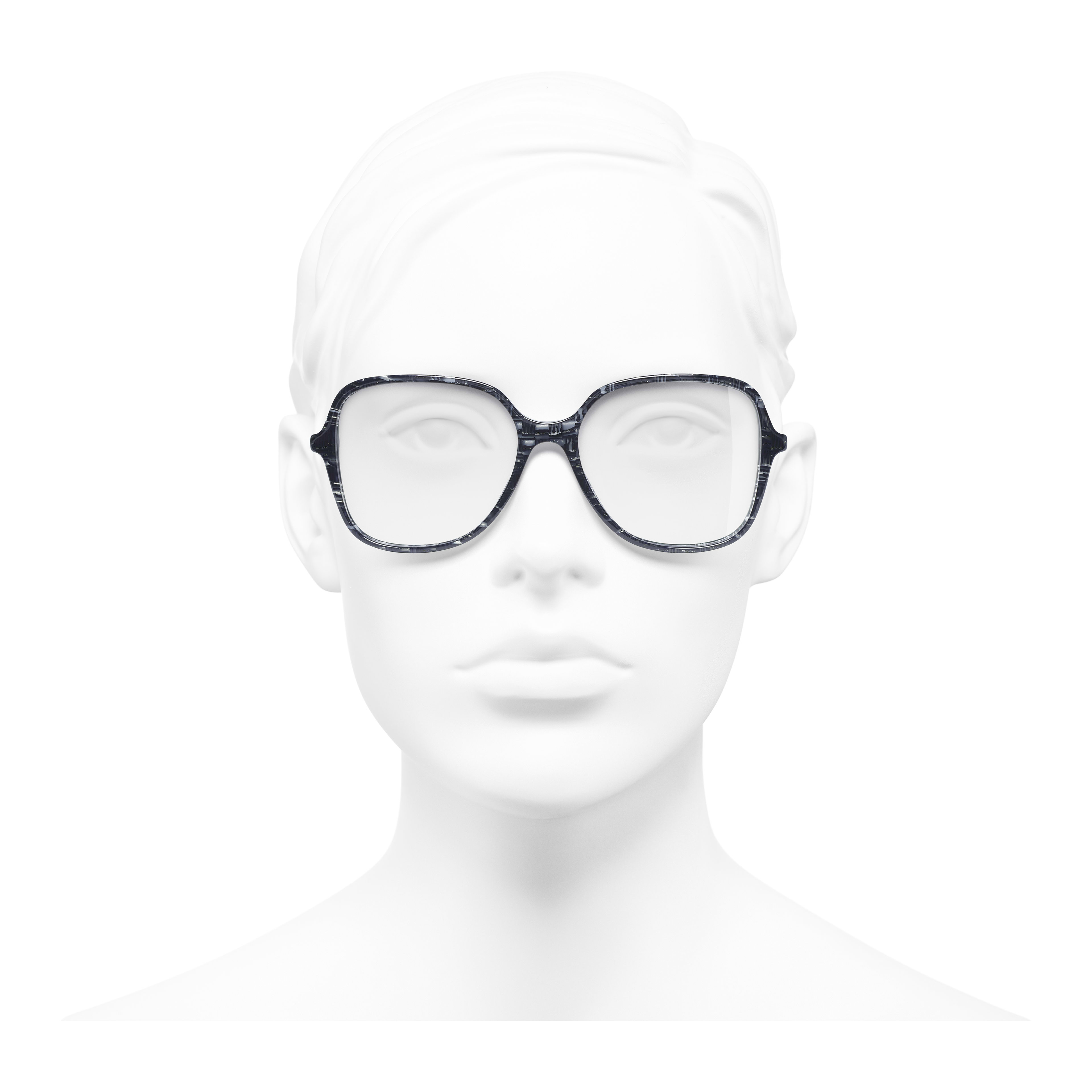 Square Eyeglasses - Glittered Dark Blue - Acetate & Imitation Pearls - Worn front view - see full sized version