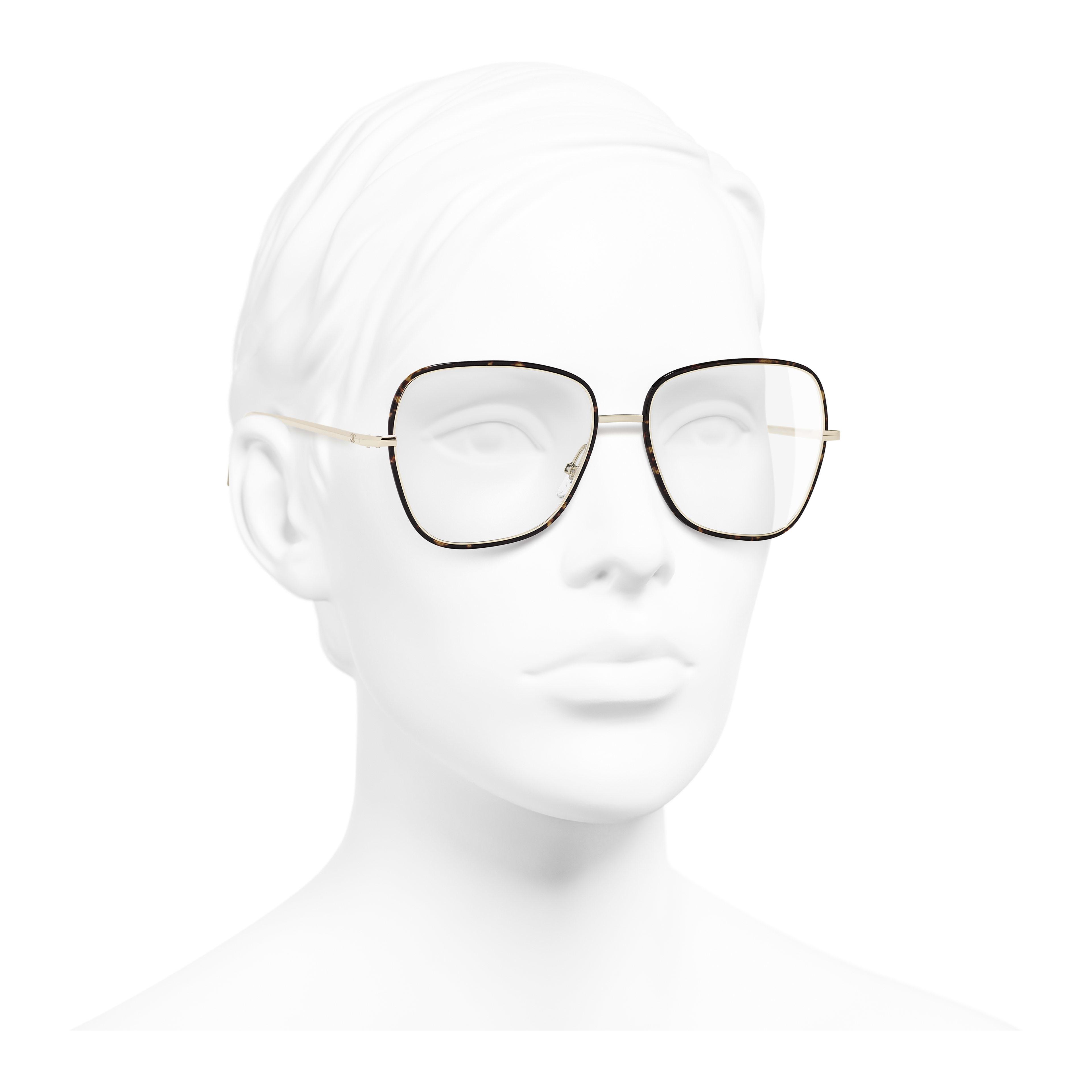 Очки для коррекции зрения квадратной формы - золотистый и коричневый - Металл - Вид в три четверти - посмотреть полноразмерное изображение