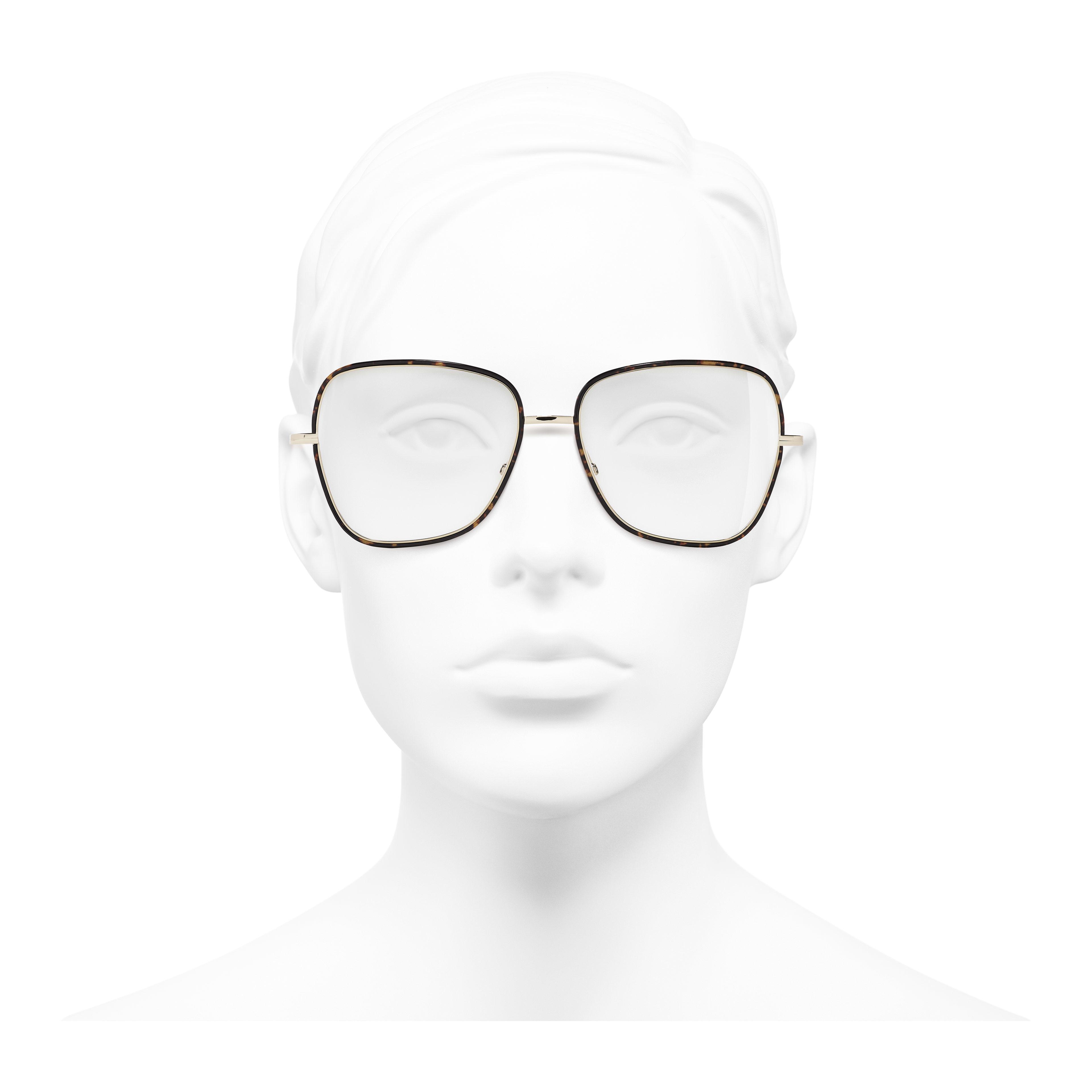 Очки для коррекции зрения квадратной формы - золотистый и коричневый - Металл - Вид анфас - посмотреть полноразмерное изображение