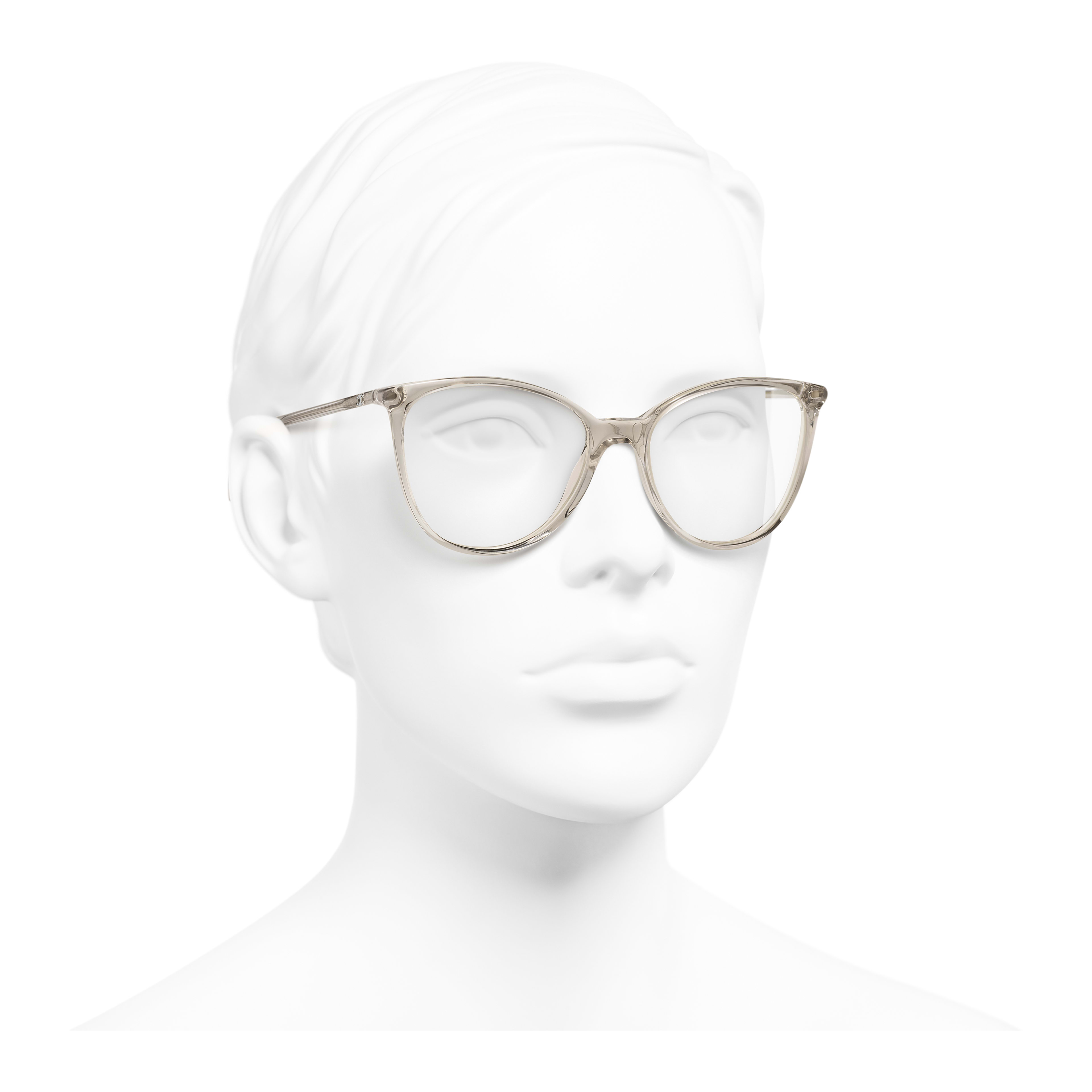 Square Eyeglasses - Transparent Beige - Acetate - Worn 3/4 view - see full sized version