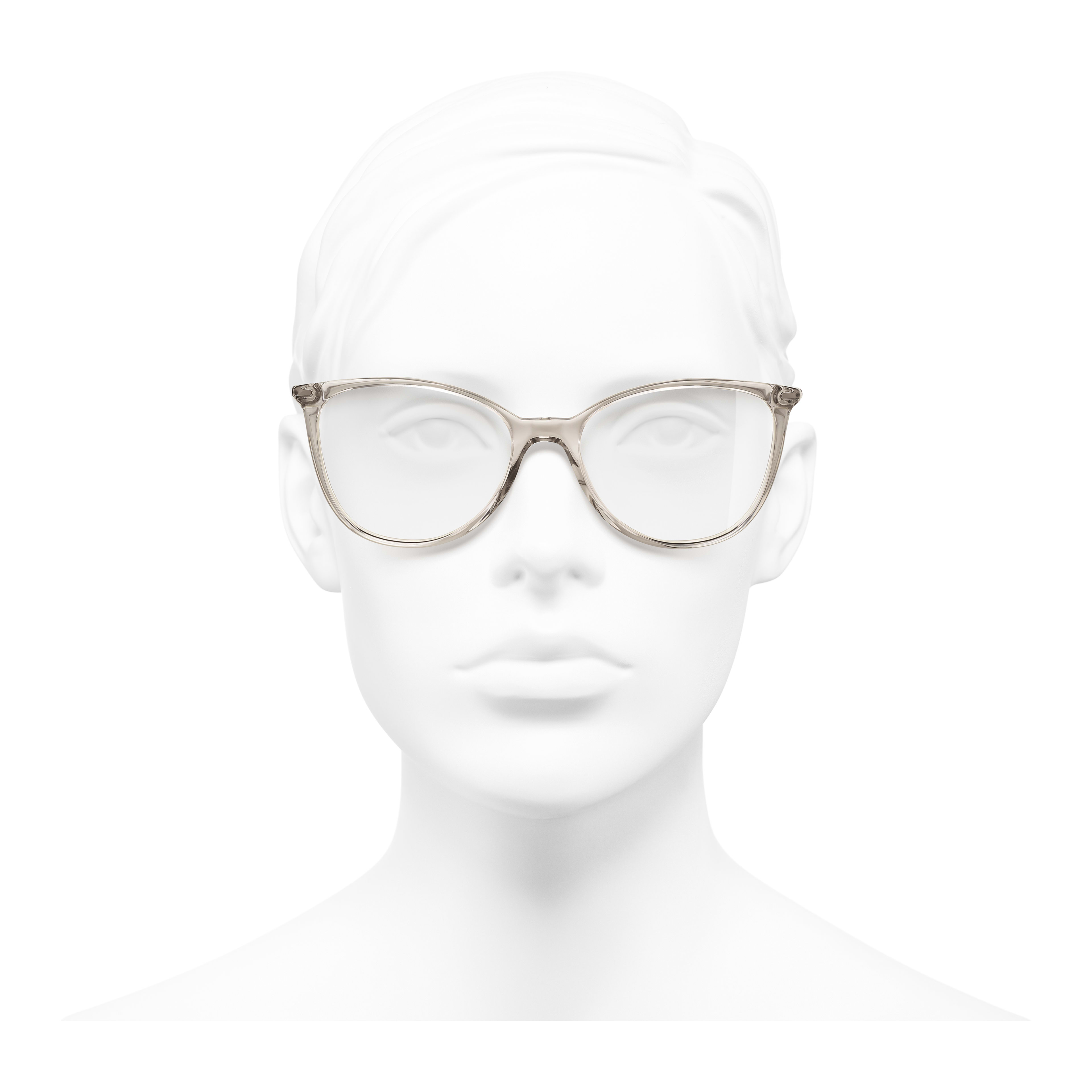 Square Eyeglasses - Transparent Beige - Acetate - Worn front view - see full sized version