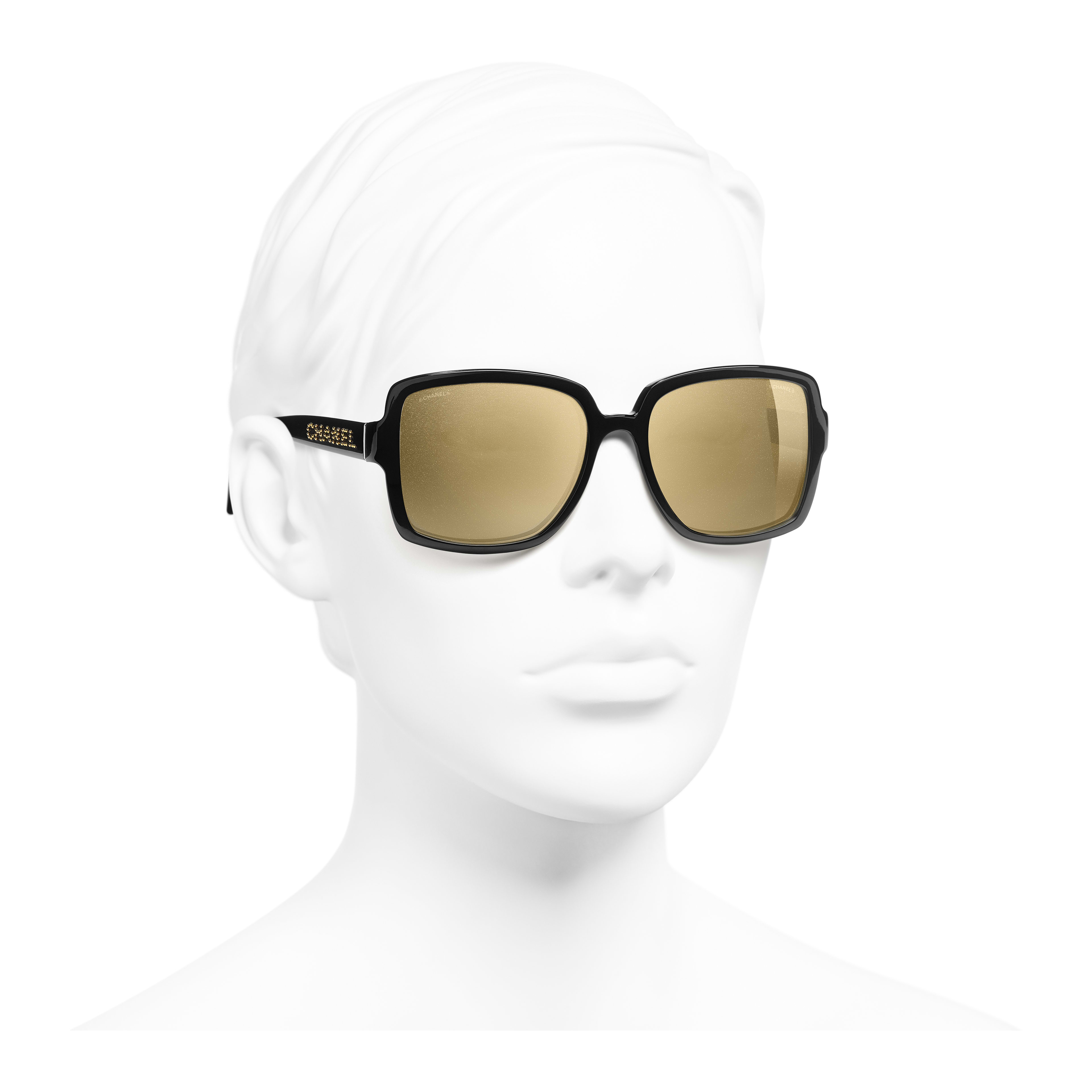 Square Sunglasses - Black - Acetate - Worn 3/4 view - see full sized version
