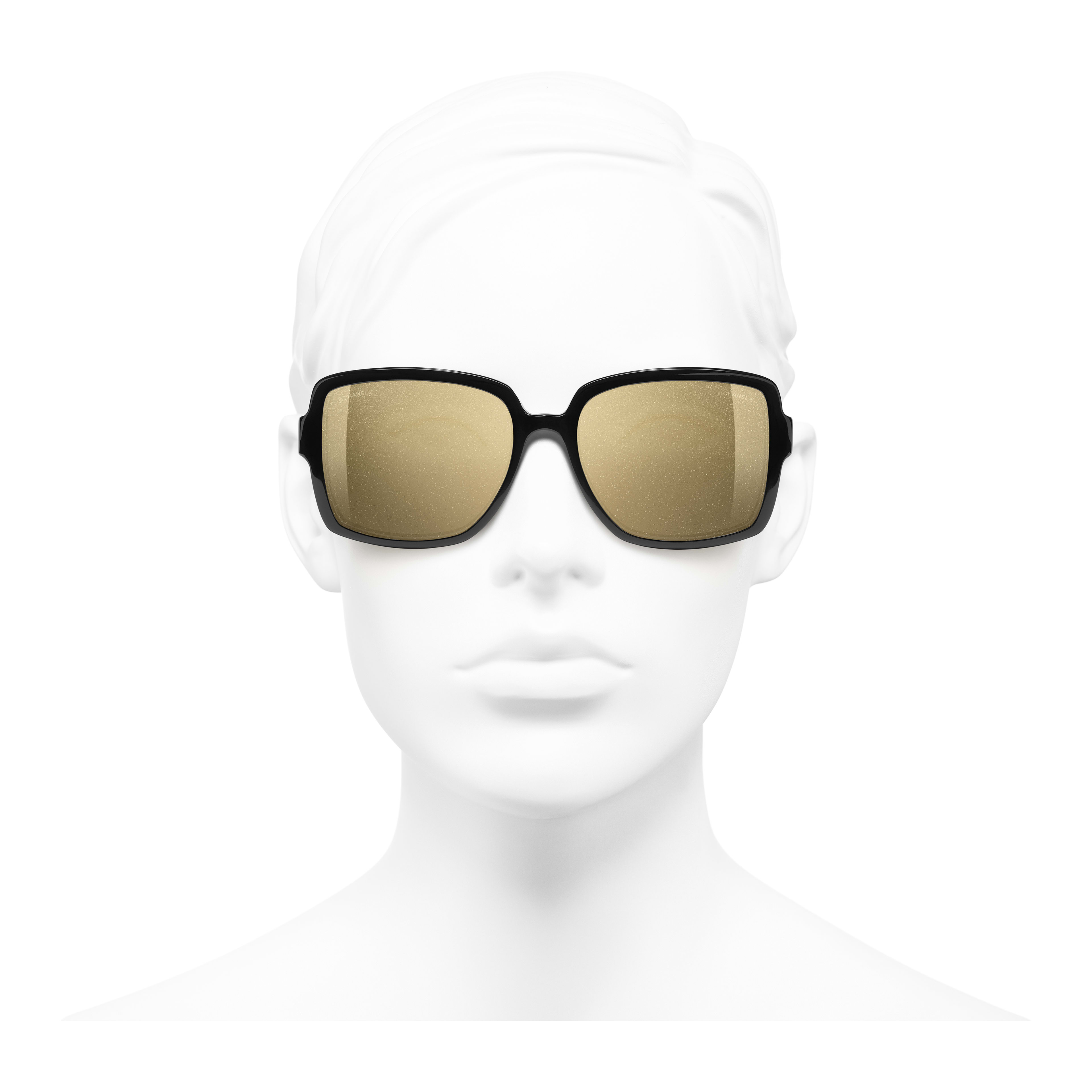 Square Sunglasses - Black - Acetate - Worn front view - see full sized version