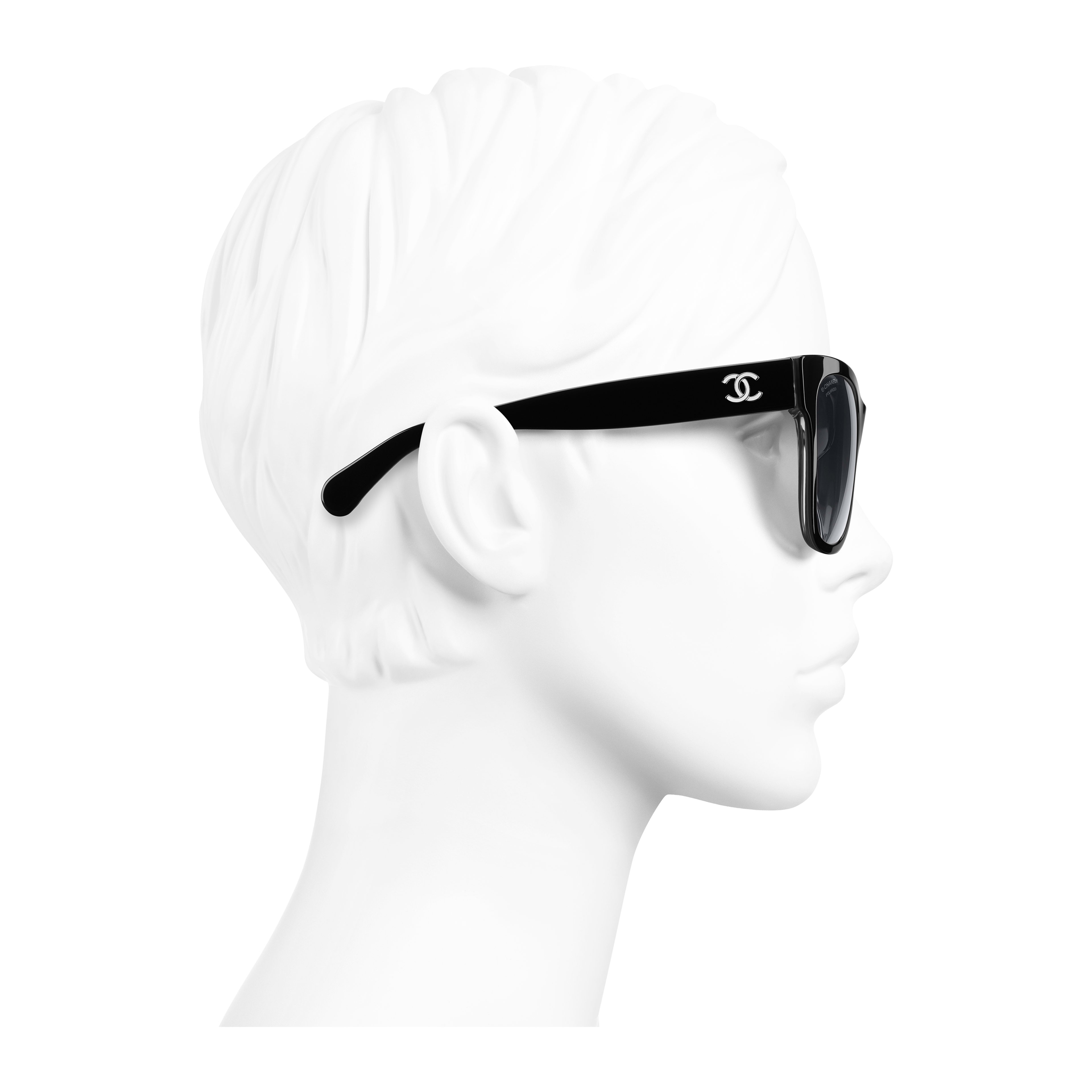 Square Sunglasses - Black - Acetate - Worn side view - see full sized version